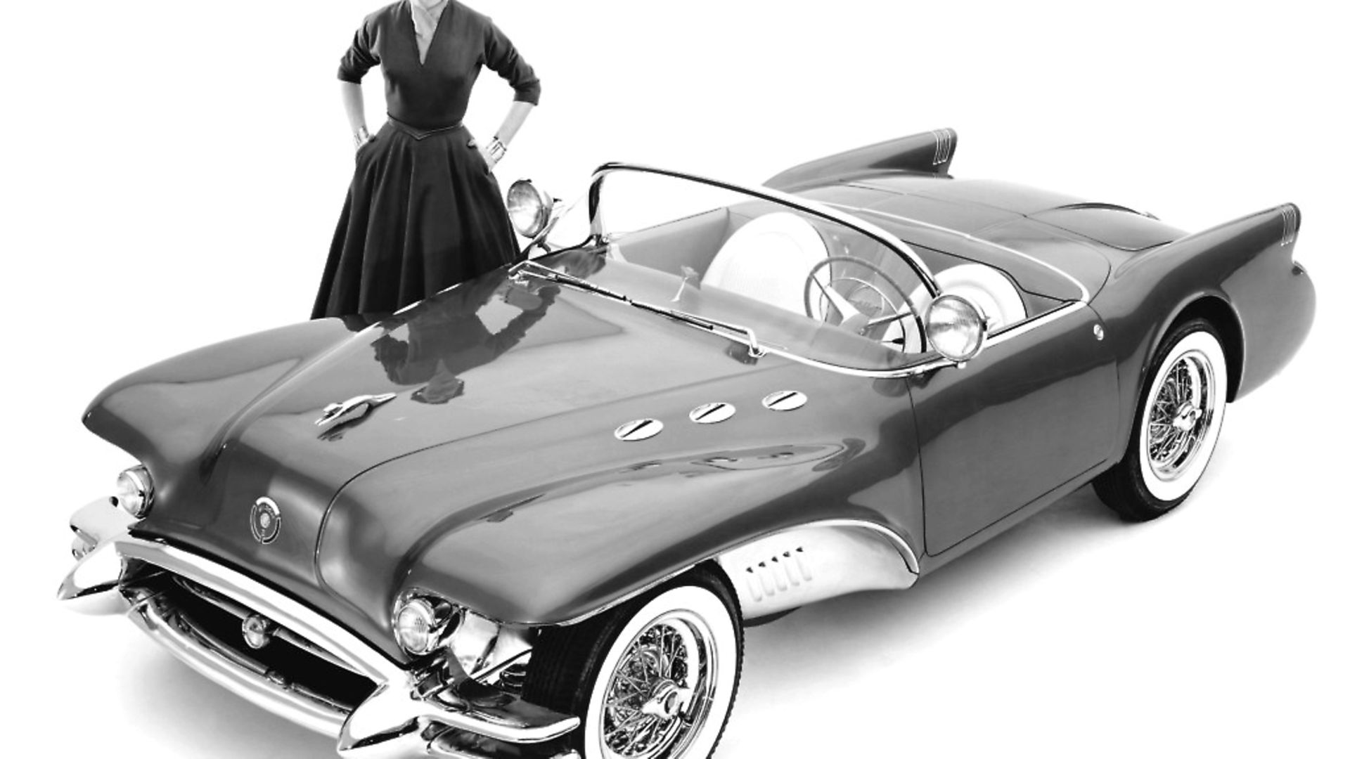A model with the Buick Wildcat II concept car designed by Harley Earl, Detroit, Michigan, 1954. Photo by Underwood Archives/Getty Images - Credit: Getty Images