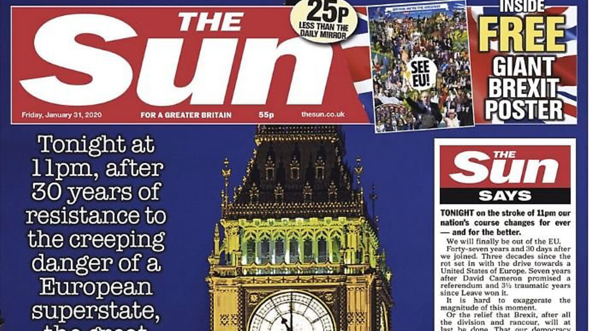 Front page of The Sun on January 31st as the UK entered the Brexit transition period. Photograph: The Sun/Twitter. - Credit: Archant