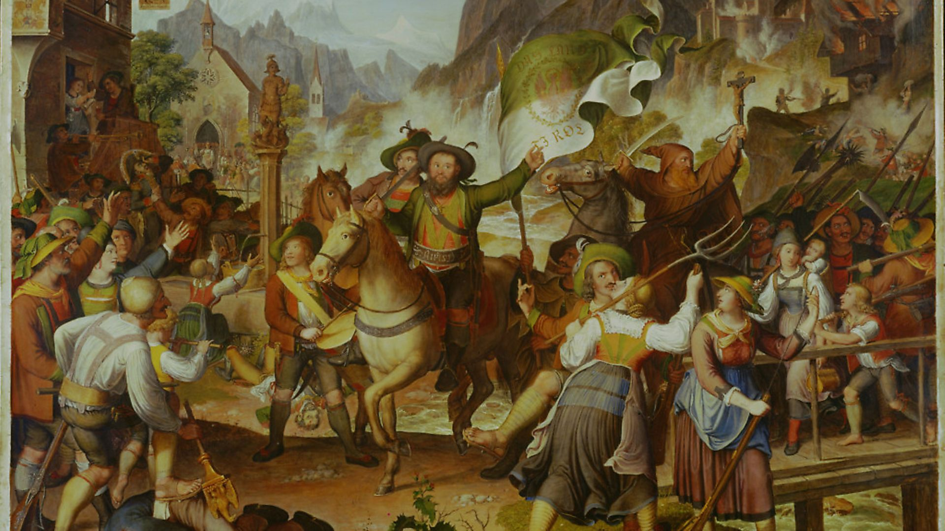 Tyrolean militia 1809. In the center Andreas Hofer, leader of the Tyrolean resistance to Napoleon, painted 1819. Picture: Getty Images - Credit: Getty Images