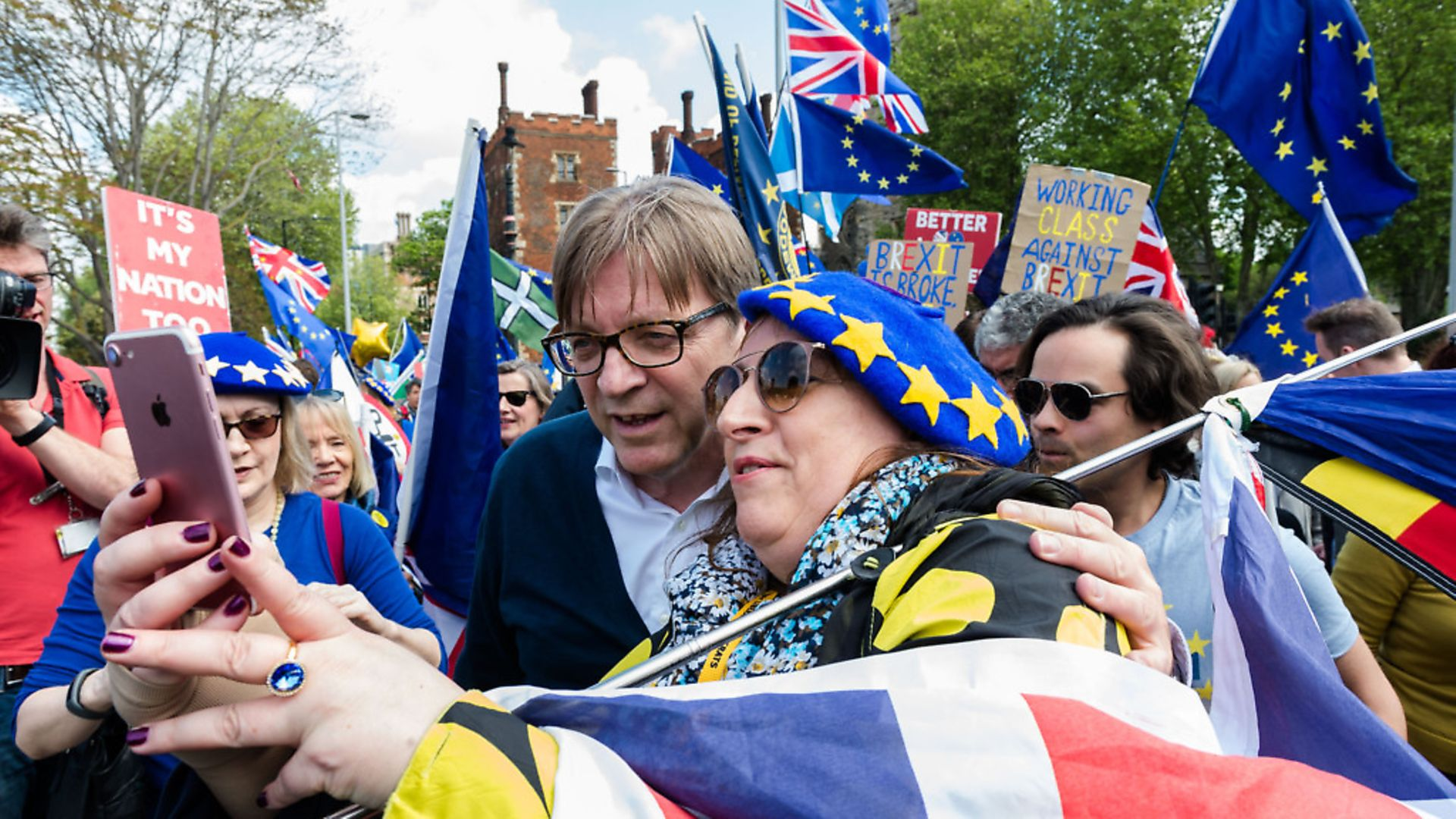 Guy Verhofstadt, European Parliament's chief Brexit negotiator, poses for a selfie as he joins a group of pro-EU supporters protesting against Brexit. (Wiktor Szymanowicz / Barcroft Media via Getty Images) - Credit: Barcroft Media via Getty Images