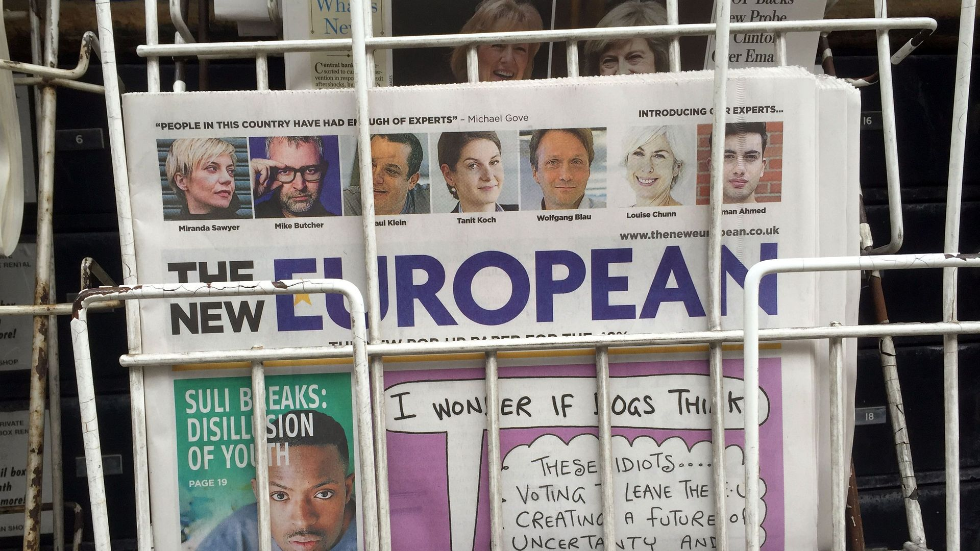 The first edition of The New European on newsstands. Photograph: PA.