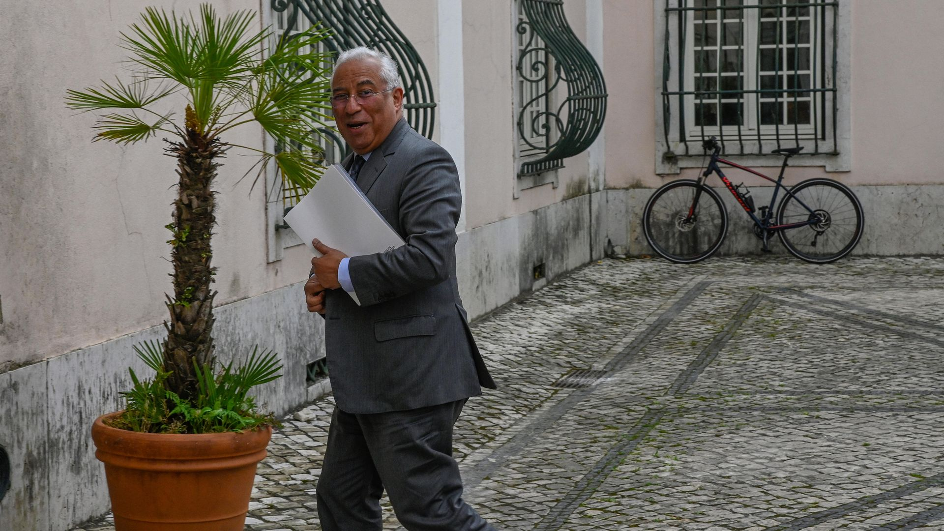 Portuguese PM Antonio Costa arriving at a meeting to discuss Covid-19 in March 2020 - Credit: Corbis via Getty Images