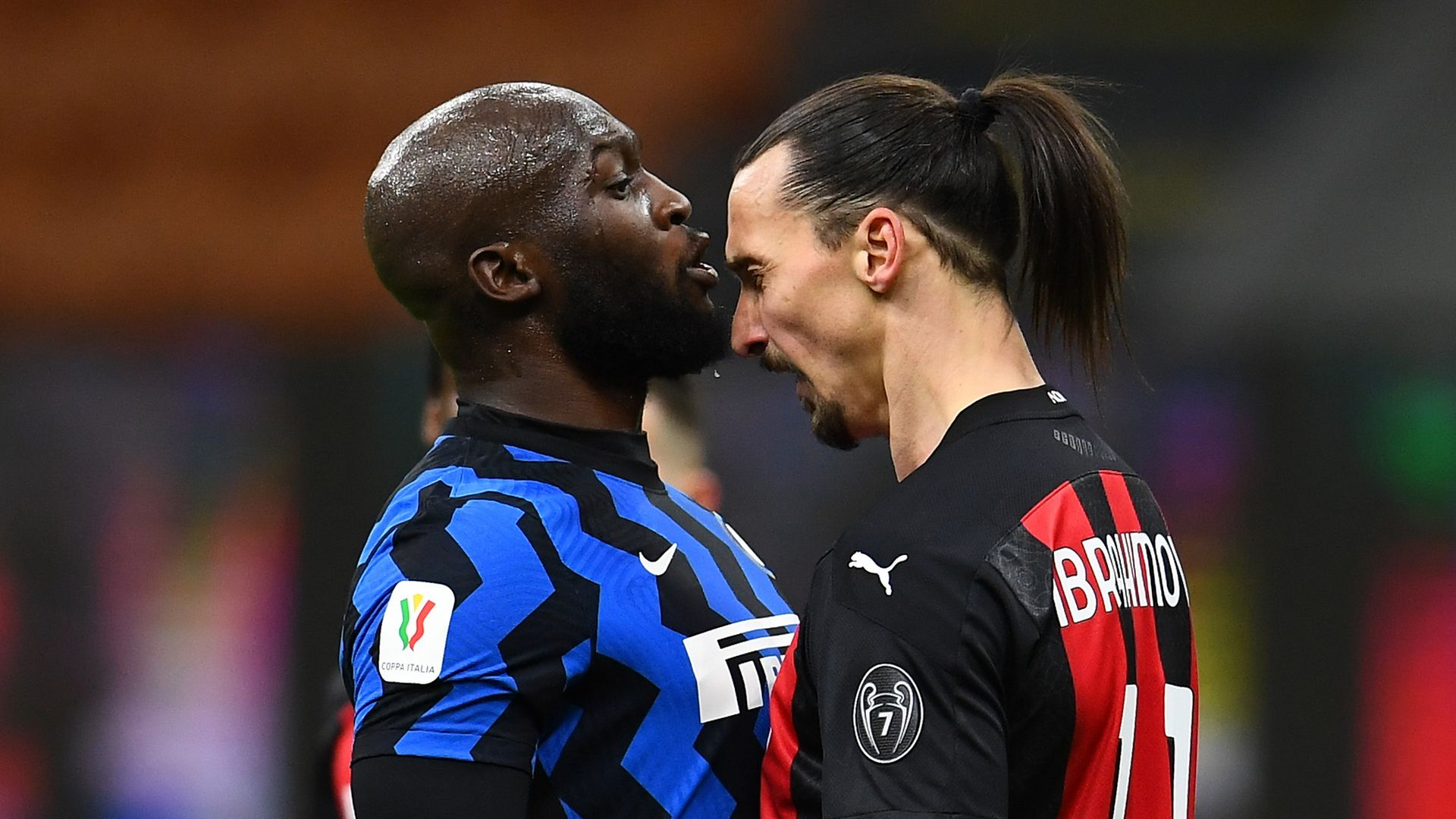 Romelu Lukaku of Internazionale clashes with Zlatan Ibrahimovic of AC Milan during the Coppa Italia match between their sides at the Stadio Giuseppe Meazza - Credit: Inter via Getty Images