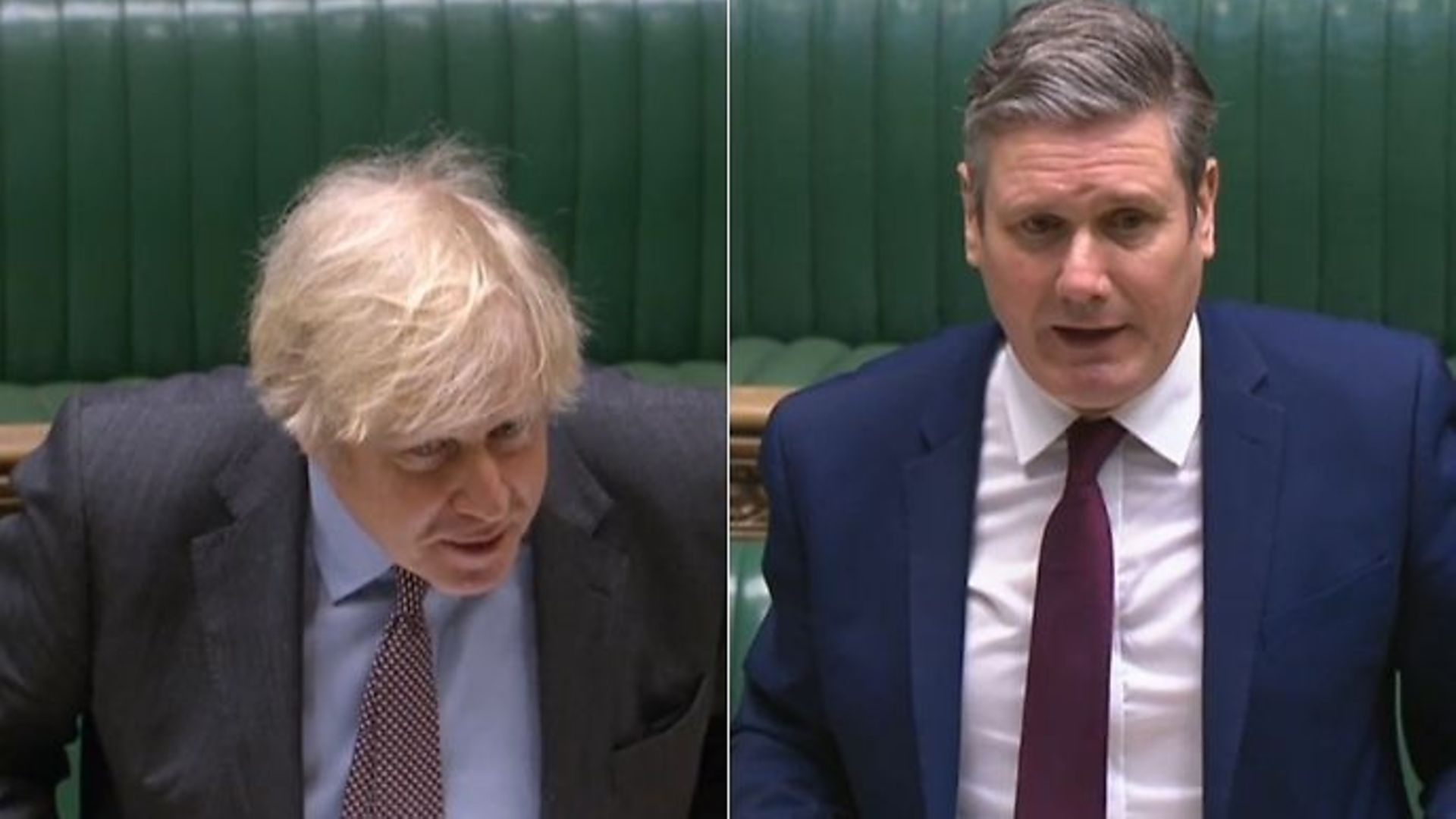 Boris Johnson (L) and Sir Keir Starmer during this week's Prime Minister's Questions - Credit: Parliamentlive.tv