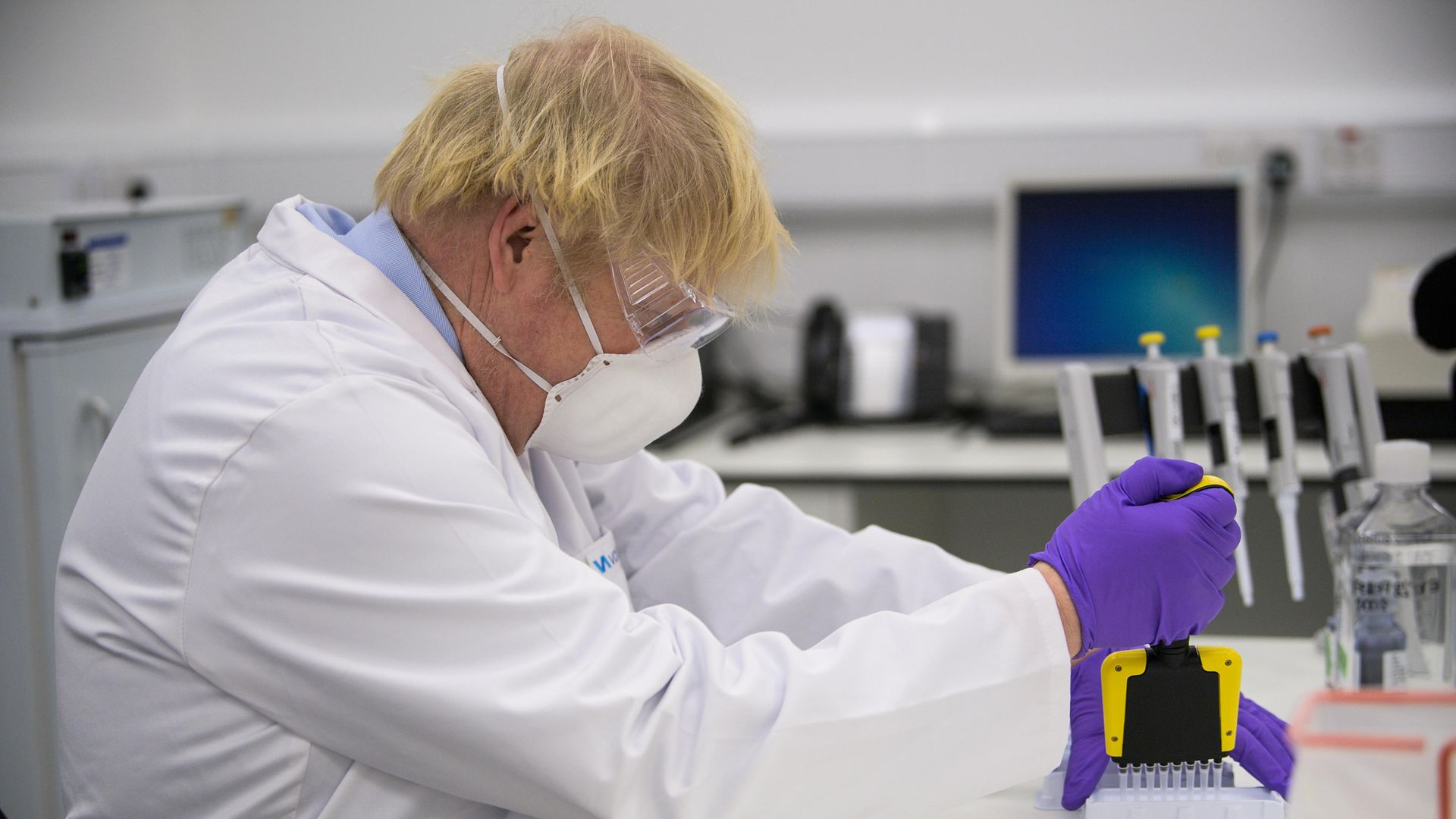 Prime Minister Boris Johnson visits the French biotechnology laboratory Valneva in Livingston during a visit to Scotland. - Credit: PA