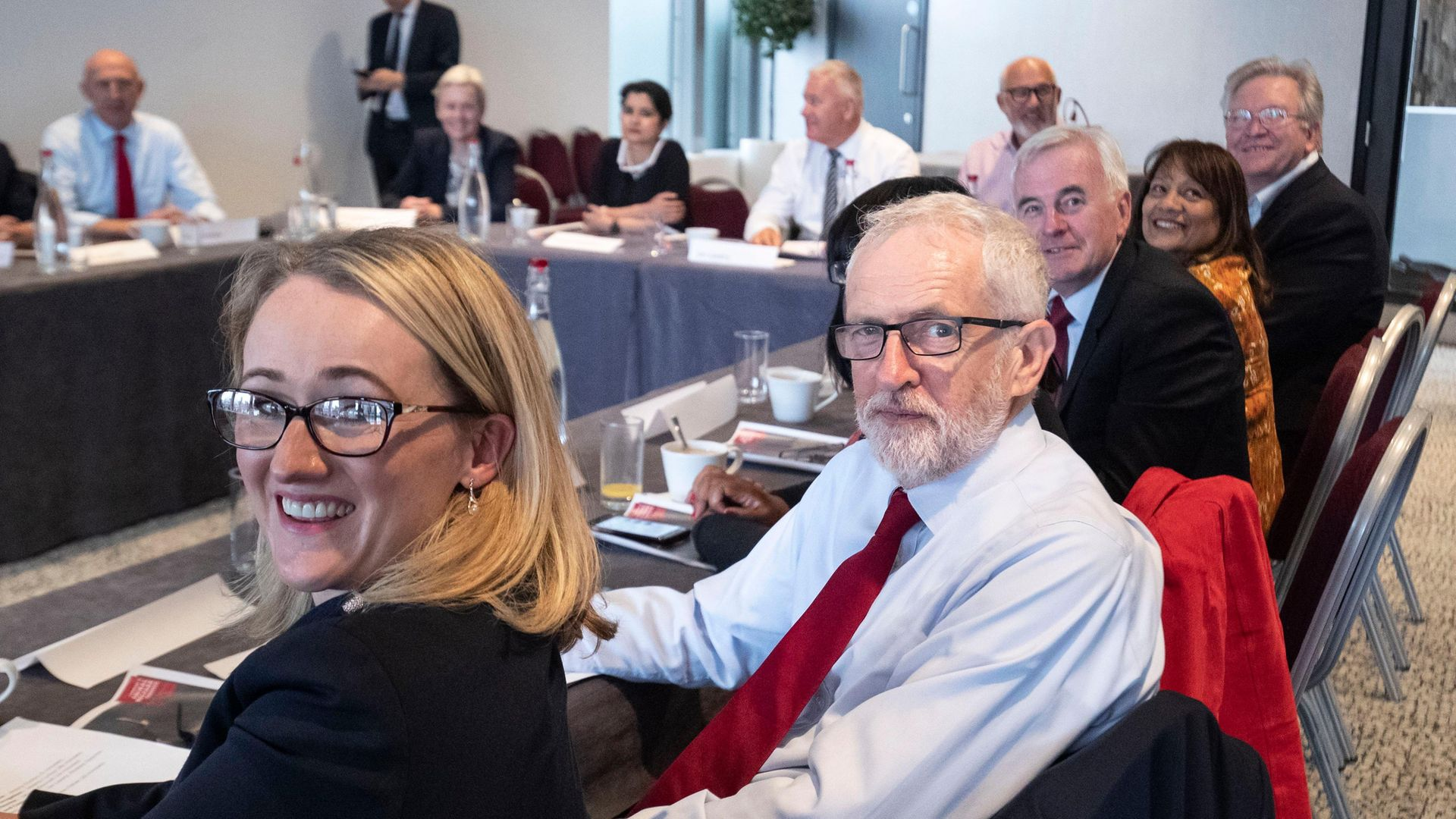 Rebecca Long-Bailey and Jeremy Corbyn attend a shadow cabinet meeting - Credit: Getty Images