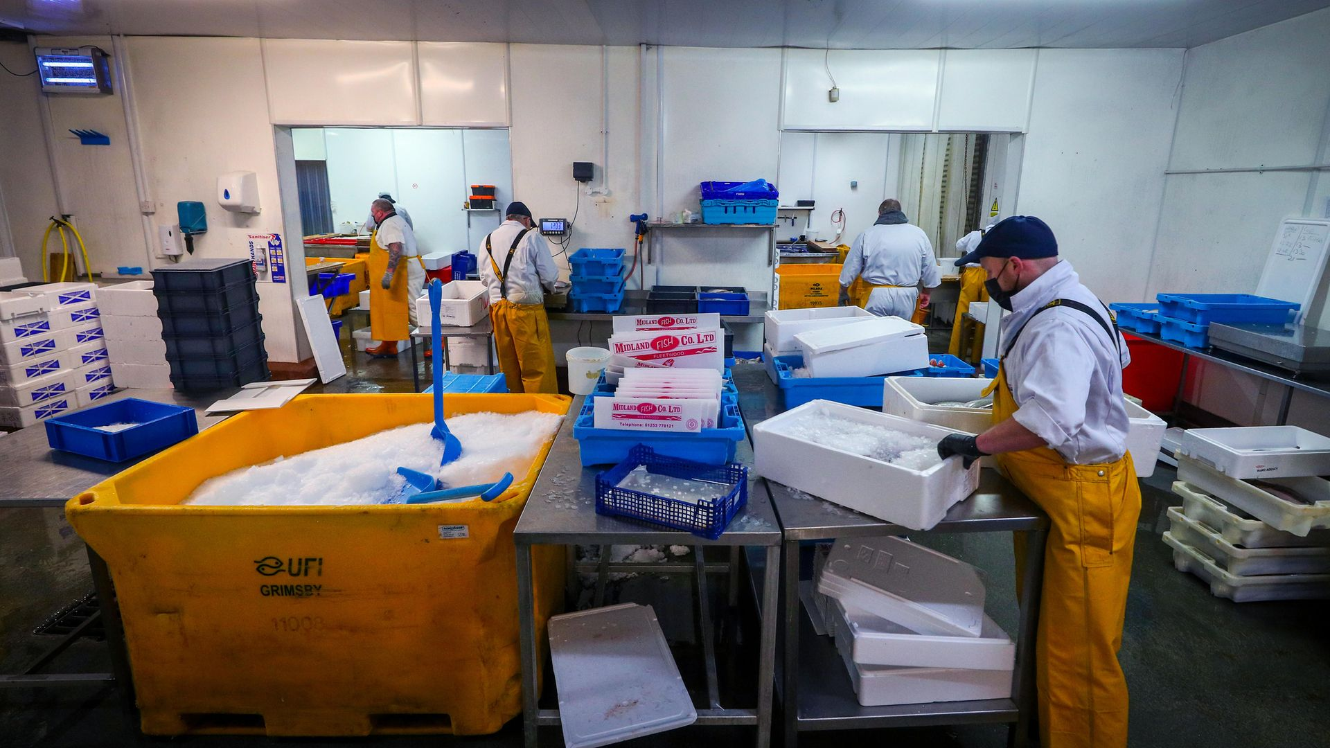 Staff at Midland Fish in Fleetwood prepare fish for sale at the docks in Fleetwood, Lancashire - Credit: PA