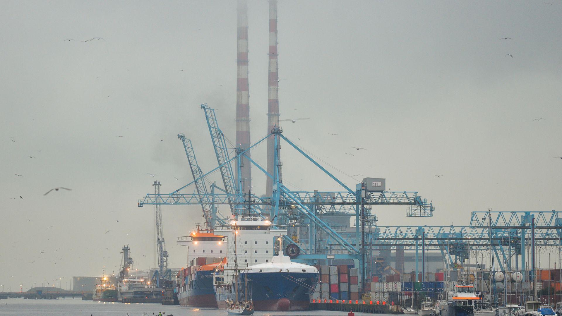 A container terminal at Dublin port. Ireland has seen trade with Europe increase. - Credit: Artur Widak/NurPhoto