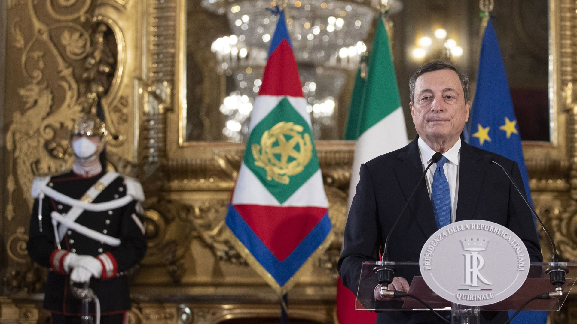 Mario Draghi at the Quirinal palace in Rome - Credit: POOL/AFP via Getty Images