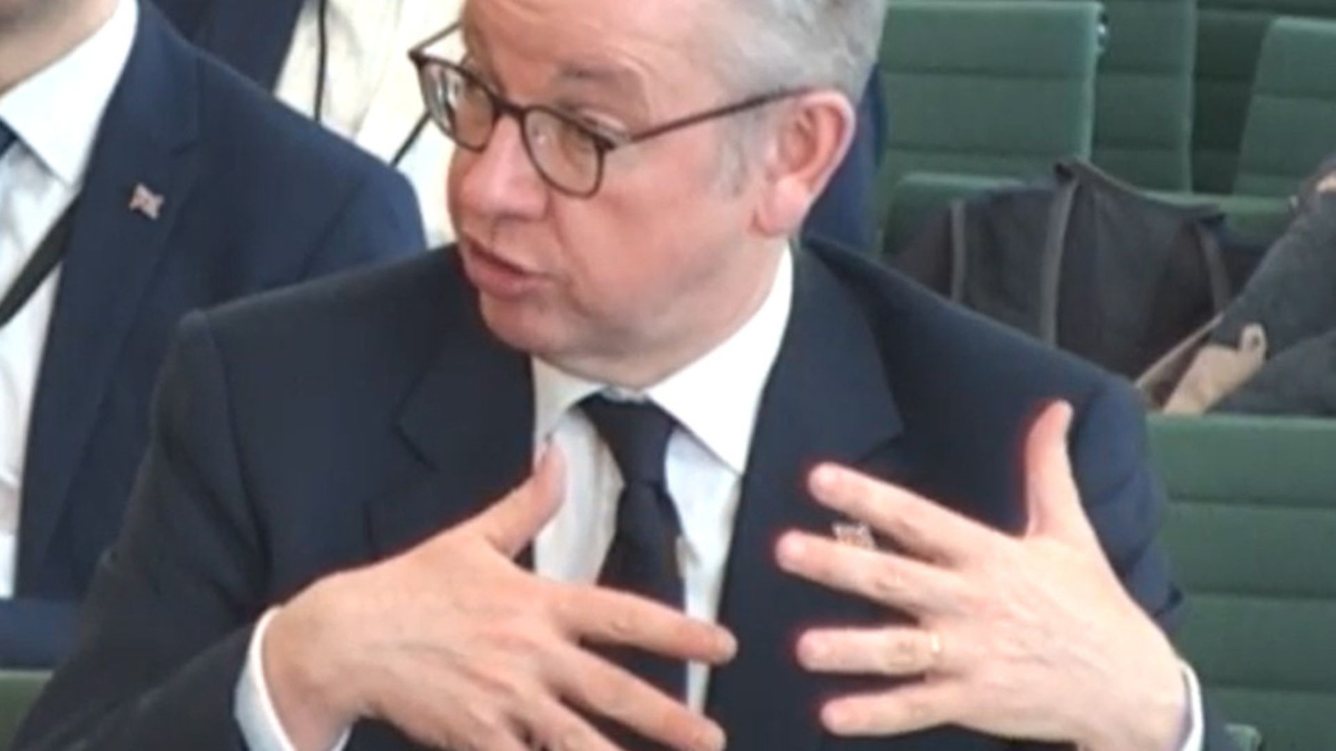 Chancellor of the Duchy of Lancaster Michael Gove giving evidence to MPs at the Select Committee on the Future Relationship with the European Union. Photograph: Parliament TV. - Credit: PA