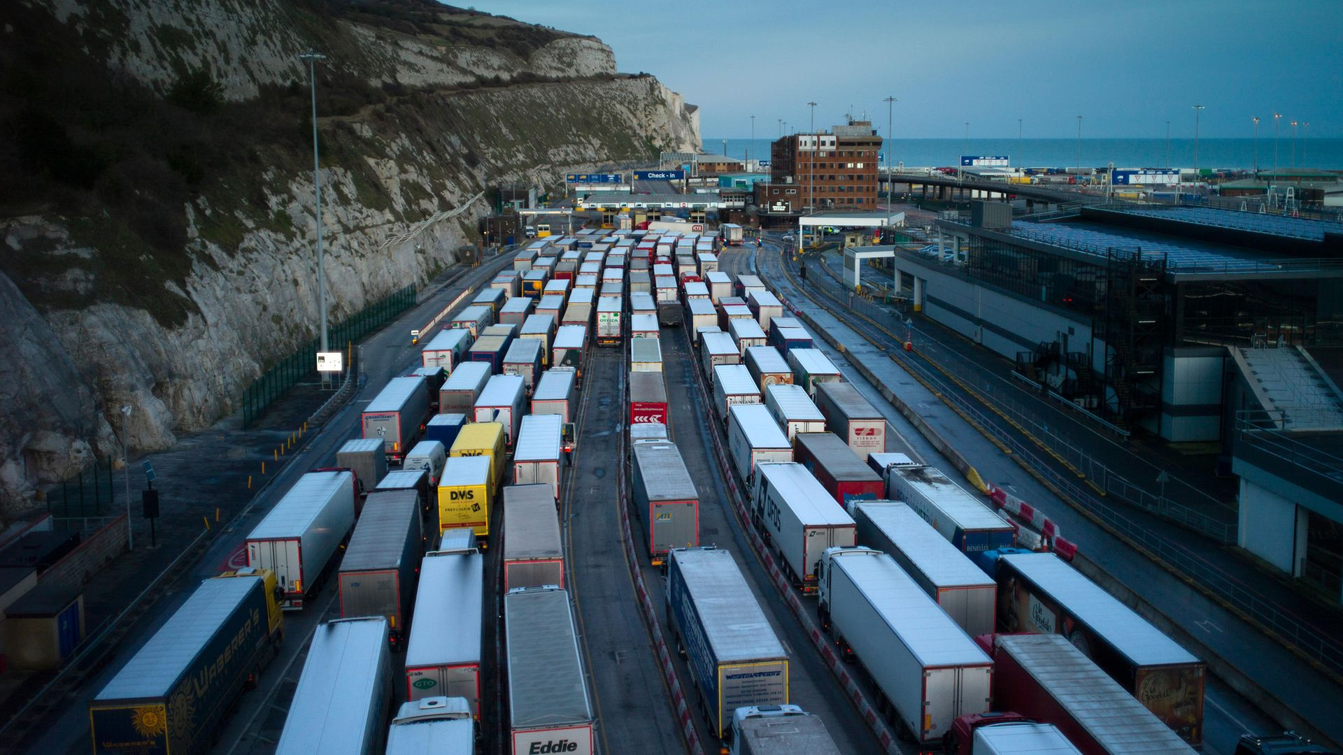 Freight queues at Dover port in Dover, England - Credit: Getty Images