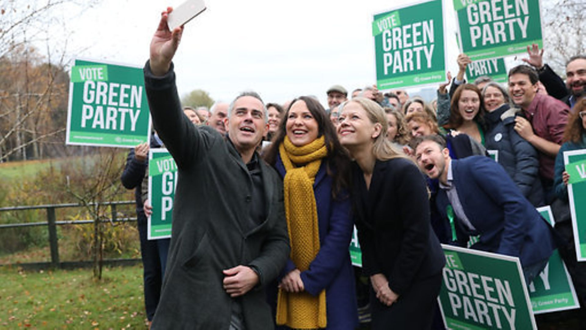 (left to right) Green Party Co-Leader Jonathan Bartley, Deputy leader Amelia Womack and Co-Leader Sian Berry - Credit: PA