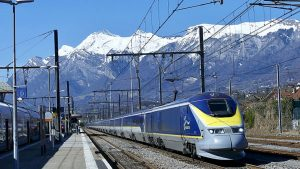 A Eurostar high-speed train travels from Bourg-Saint-Maurice (in the French Alps) to London