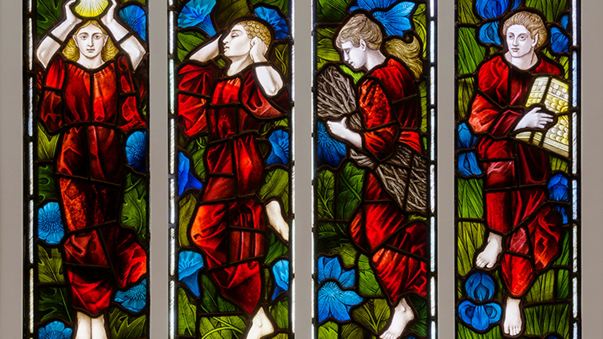 A stained glass window, originally in Soham House, Newmarket, Suffolk, from the William Morris Gallery, Century Guild exhibition - Credit: William Morris Gallery