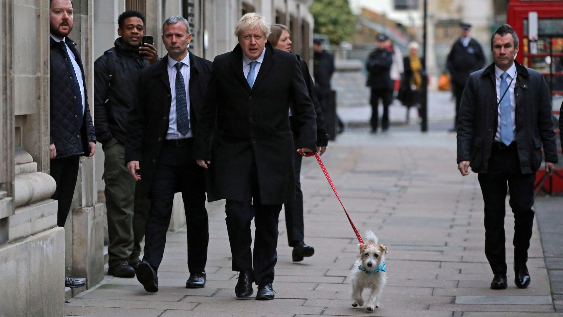 Prime Minister Boris Johnson arrives with his dog Dilyn to cast his vote in the 2019 General Election at Methodist Central Hall, London - Credit: PA