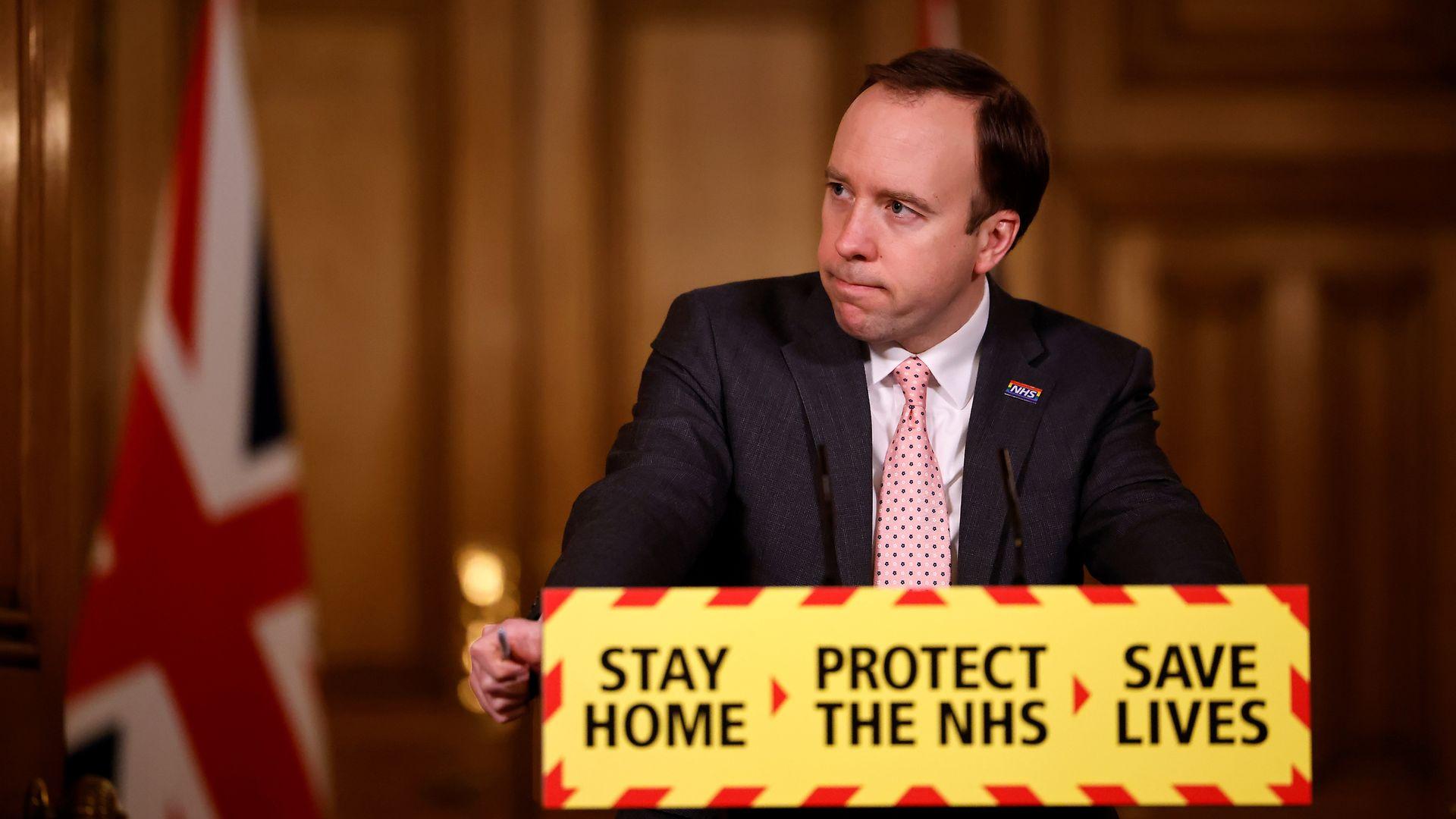Health secretary Matt Hancock during a media briefing in Downing Street - Credit: PA