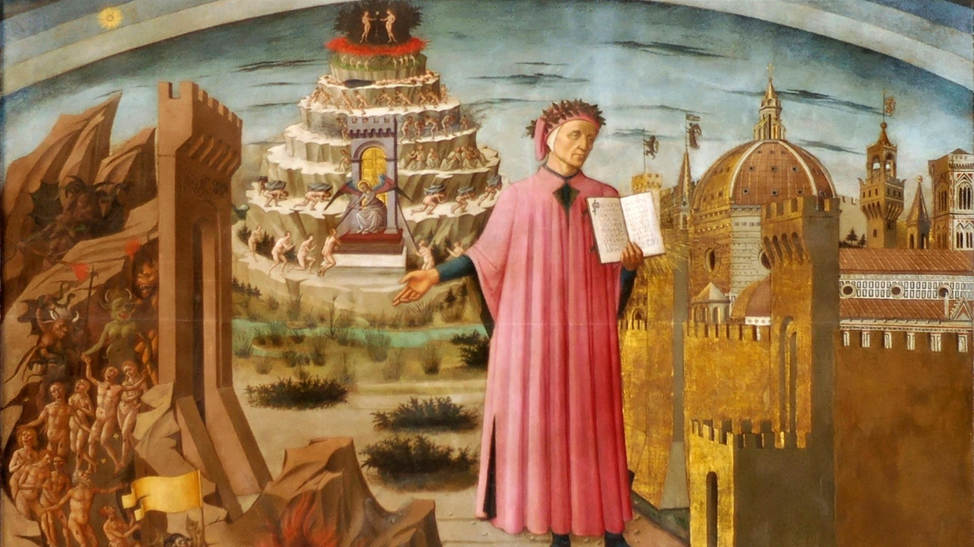 Dante and the Divine Comedy, from the Basilica of Santa Maria del Fiore, Florence - Credit: Heritage Images/Getty Images