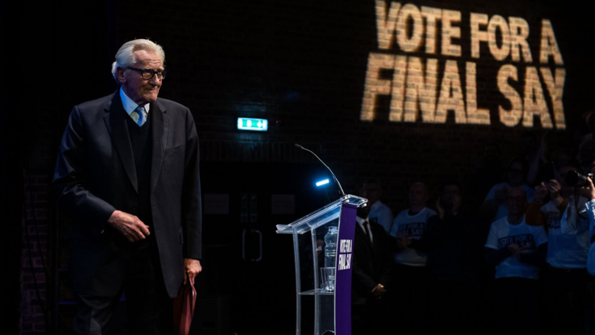 Lord Michael Heseltine speaks at a 'Vote for a Final Say' rally about Brexit - Credit: Getty Images