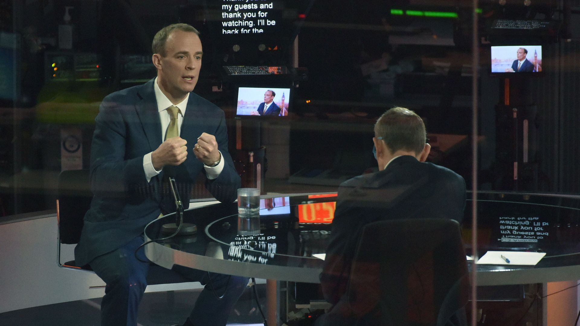 Andrew Marr (right) speaking with Foreign Secretary Dominic Raab during the BBC1 current affairs programme, The Andrew Marr Show. - Credit: PA