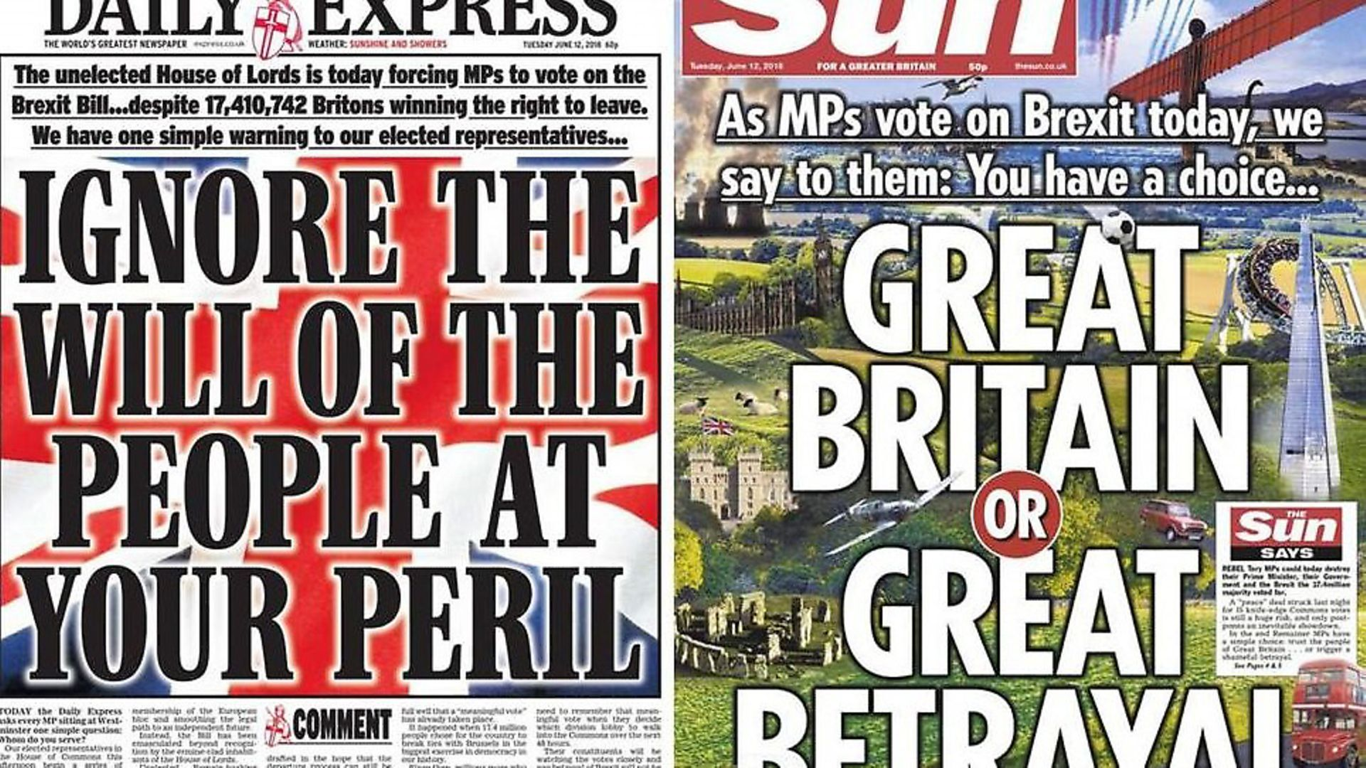 Front covers of the Daily Express and The Sun - Credit: Archant