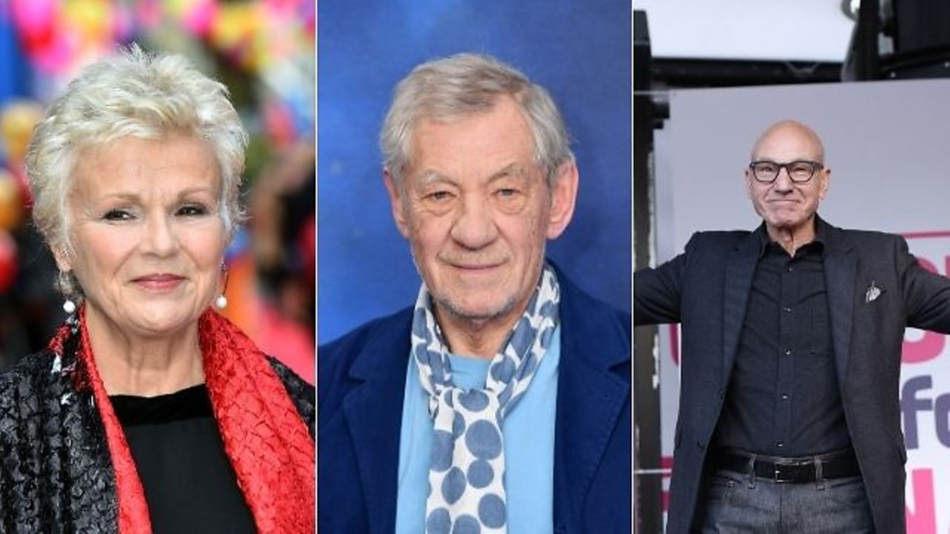 Dame Julie Walters, Sir Ian McKellen and Sir Patrick Stewart are lobbying Boris Johnson over post-Brexit rules - Credit: PA