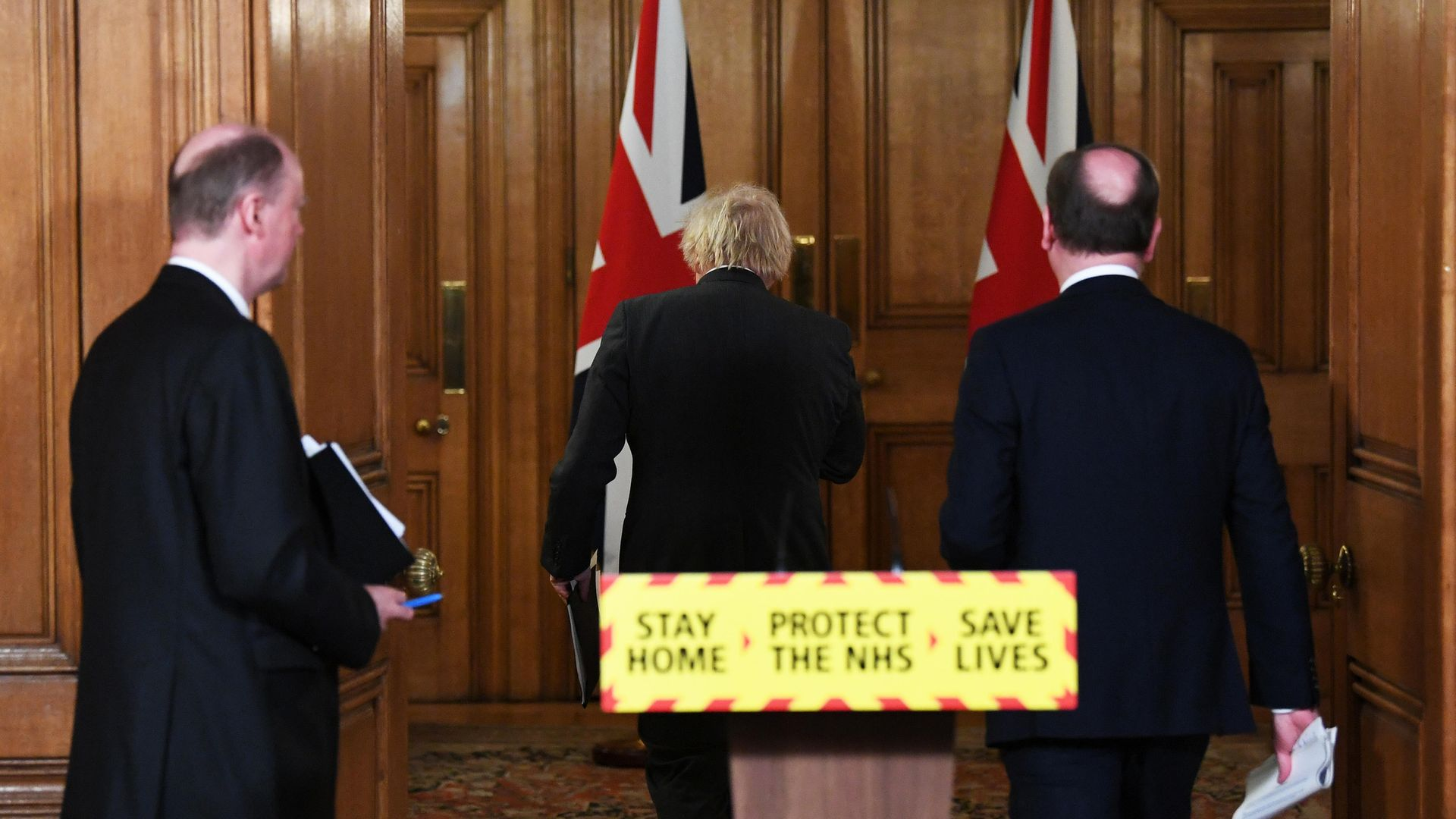 (left to right) Chief Medical Officer Chris Whitty, Prime Minister Boris Johnson and Chief Executive of the National Health Service in England, Sir Simon Stevens - Credit: PA