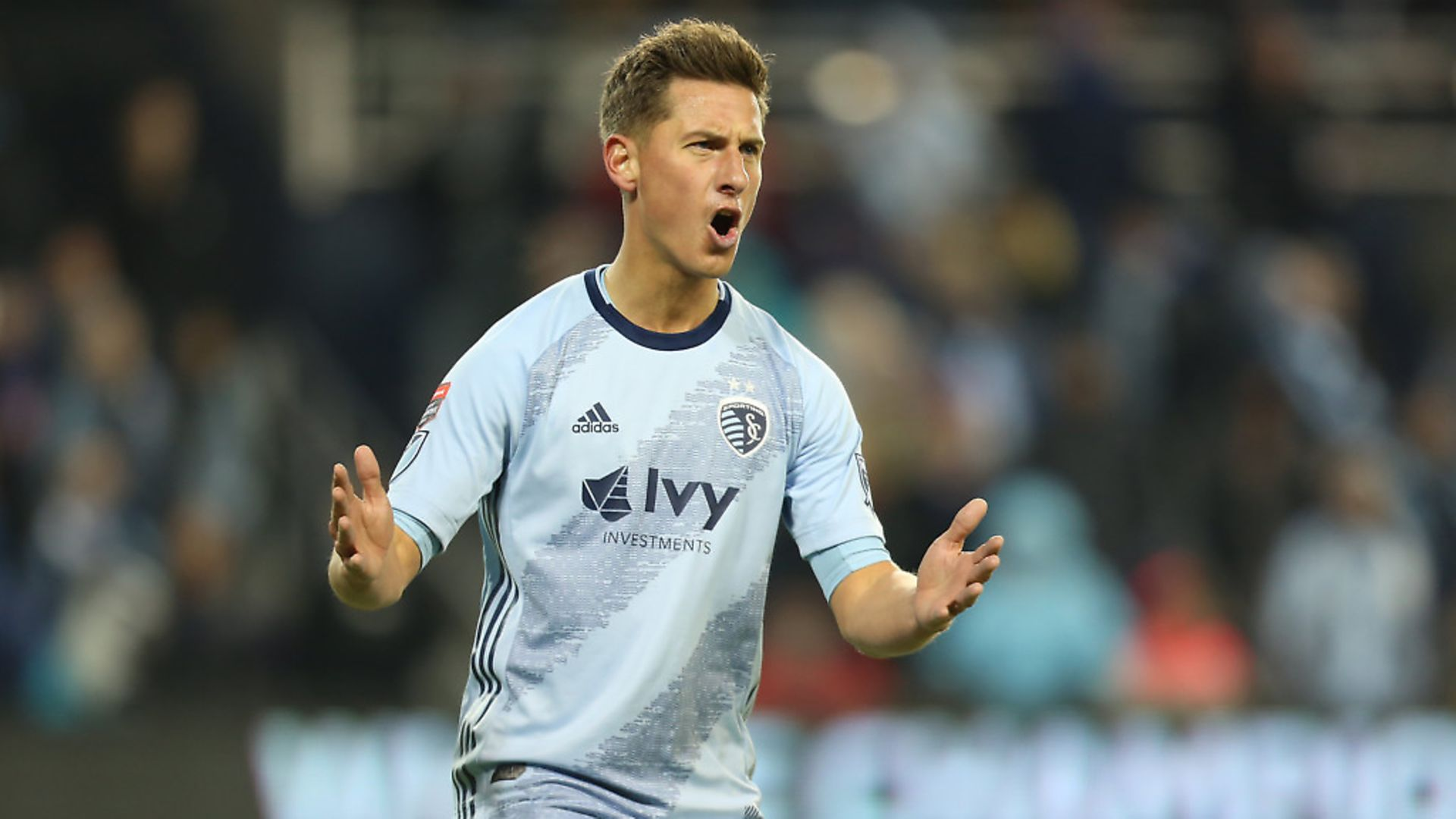 Krisztian Nemeth of Sporting Kansas City reacts after missing a chance to score during the match between Sporting Kansas City and Toluca as part of the CONCACAF Champions League 2019 at Children's Mercy Park on February 21, 2019 in Kansas City, Kansas. (Photo by Omar Vega/Getty Images) - Credit: Getty Images