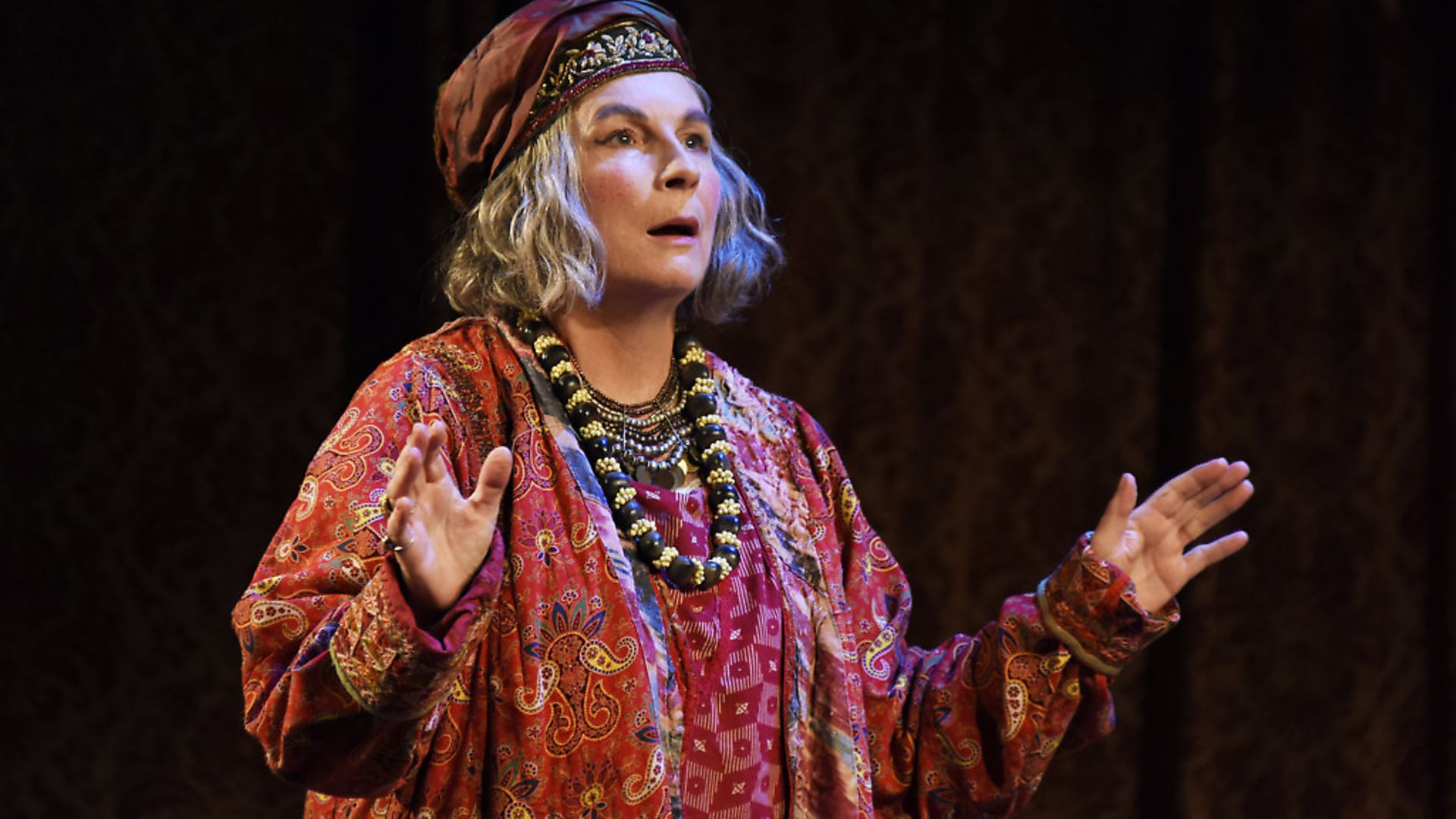 Jennifer Saunders as Madame Arcati in Blithe Spirit. Credit: Nobby Clark. - Credit: Photograph by Nobby Clark
