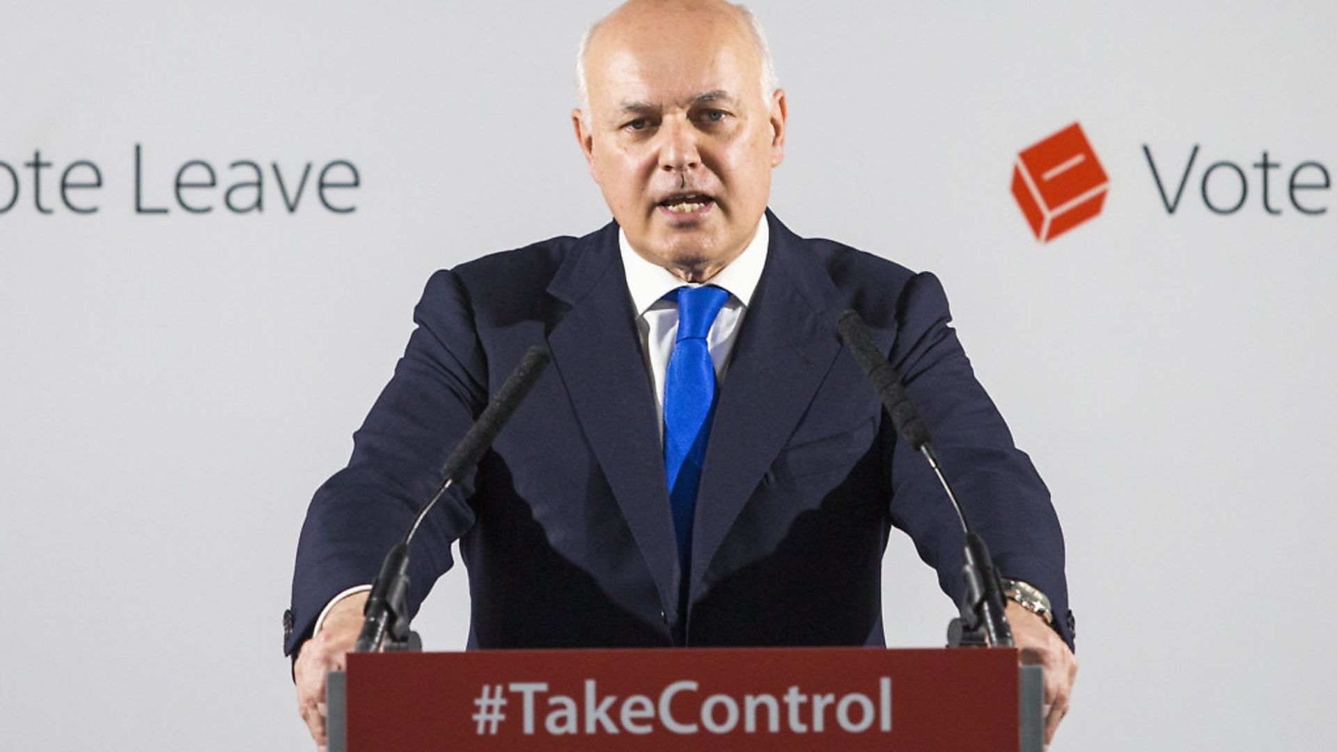 Brexiteer Iain Duncan Smith gives a speech as part of the Vote Leave campaign during the EU referendum. (Photo by Jack Taylor/Getty Images) - Credit: Getty Images