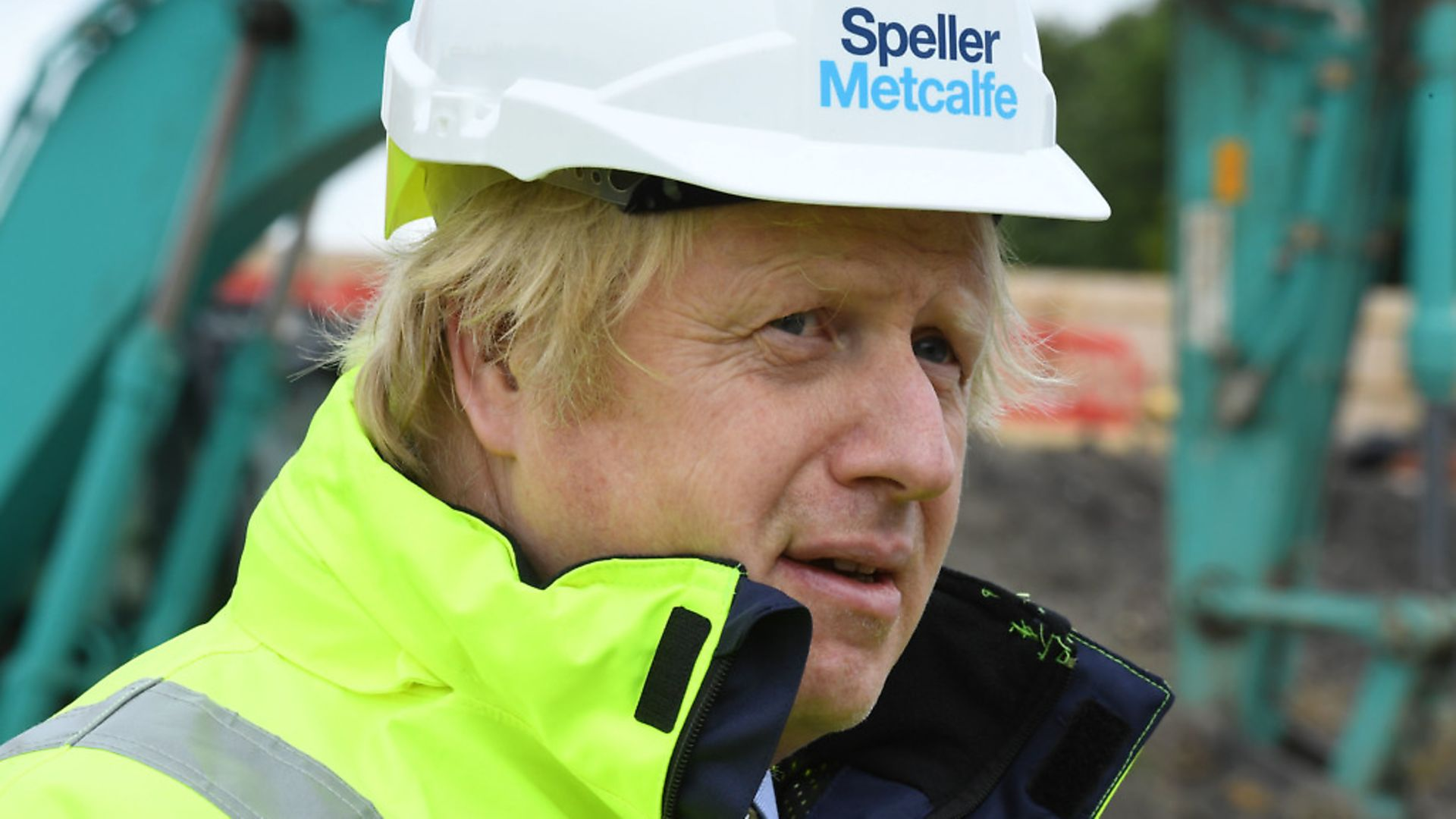 Prime Minister Boris Johnson during a visit to the Speller Metcalfe's building site at The Dudley Institute of Technology. Photograph: Jeremy Selwyn/Evening Standard/PA Wire. - Credit: PA