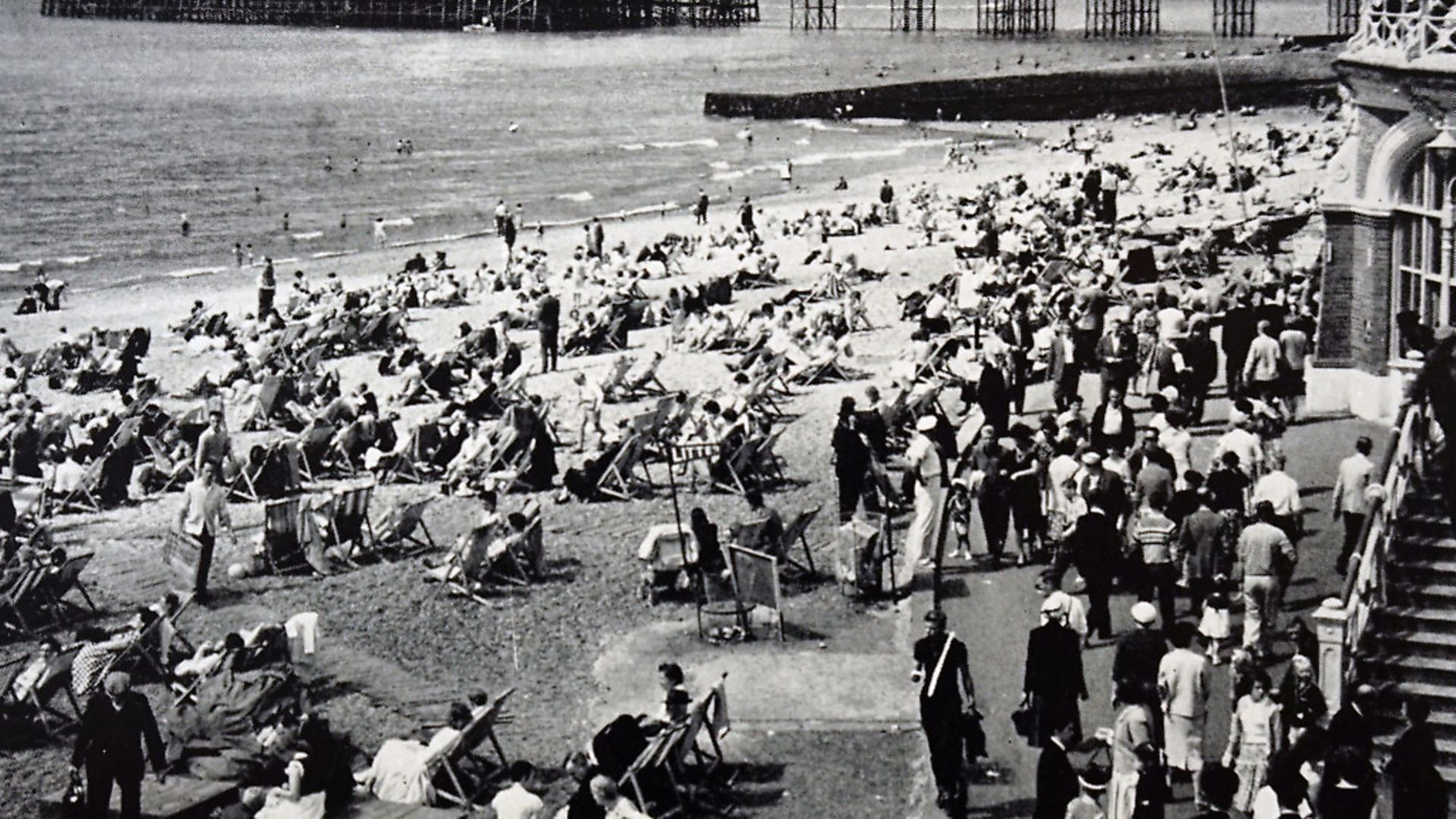 Photograph of tourists at the West Pier at Brighton on the eve of the August Bank Holiday. Dated 20th Century. (Photo by: Universal History Archive/Universal Images Group via Getty Images) - Credit: Universal Images Group via Getty