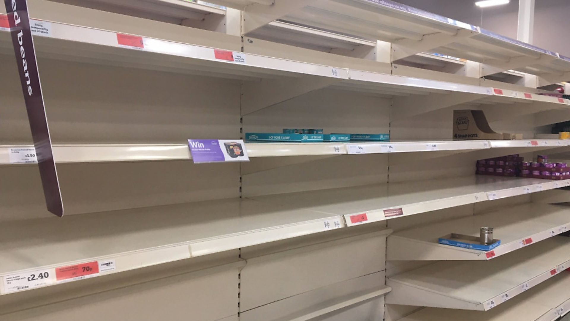 Supermarket shelves stripped bare amid the coronavirus outbreak.  Picture: Archant - Credit: Archant