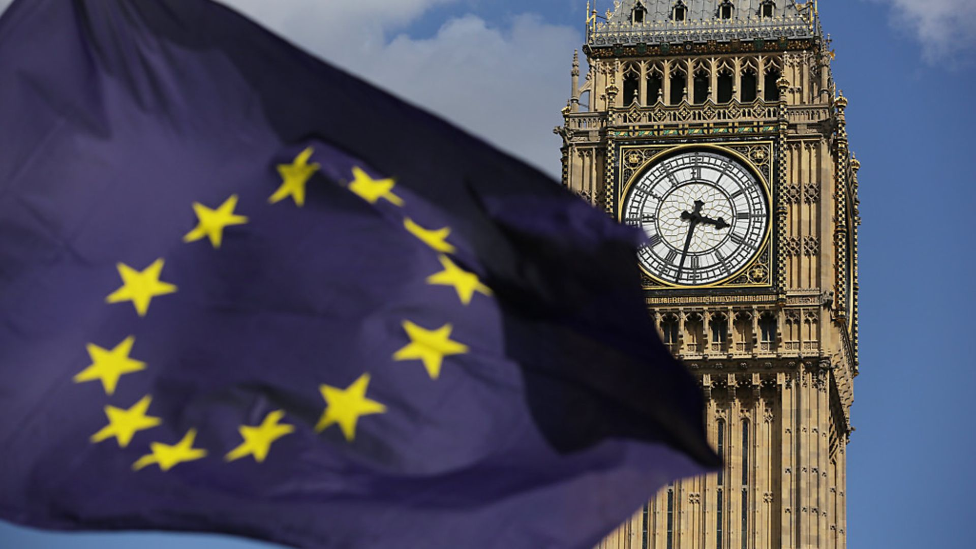 A European Union flag in front of Big Ben at an anti-Brexit event. Photograph: Daniel Leal-Olivas/PA. - Credit: PA