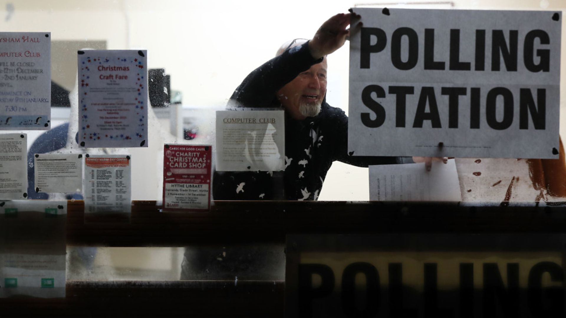A polling station is set-up as voters go to the polls - Credit: PA