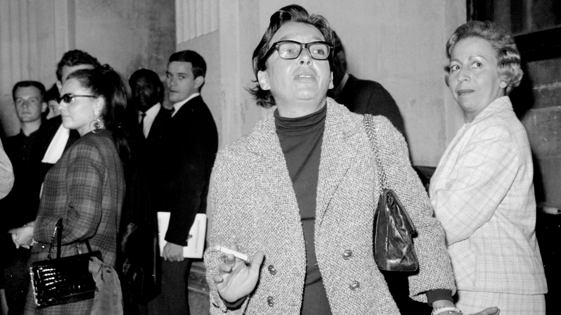 EXPERT WITNESS: Marguerite Duras outside a court room in January 1966. She was a witness in a case linked to the disappearance of Mehdi Ben Barka, a Moroccan politicians who vanished the year before - Credit: AFP via Getty Images