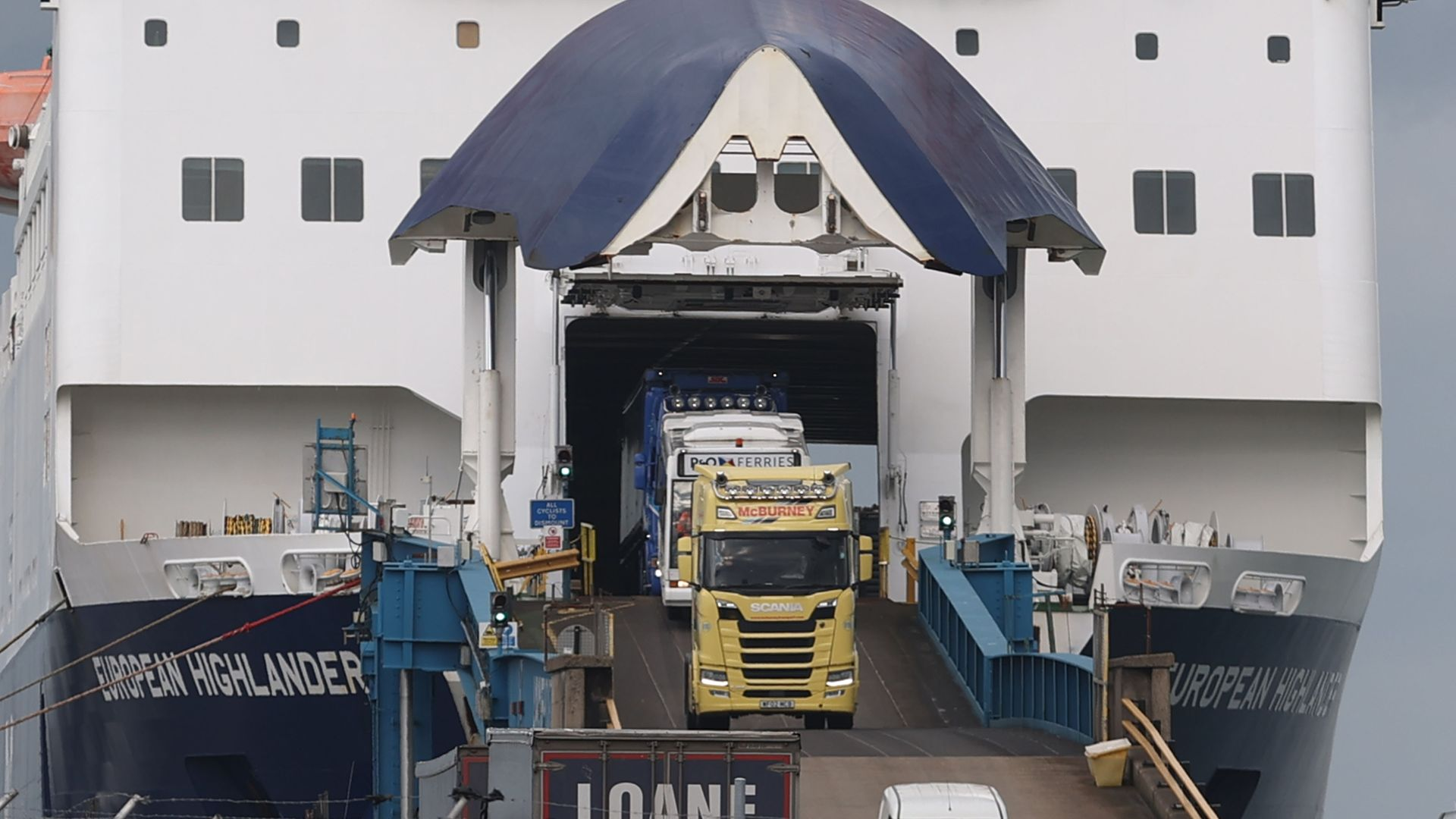 Lorries driving off the European Highlander P&O ferry at the Port of Larne, Northern Ireland - Credit: PA