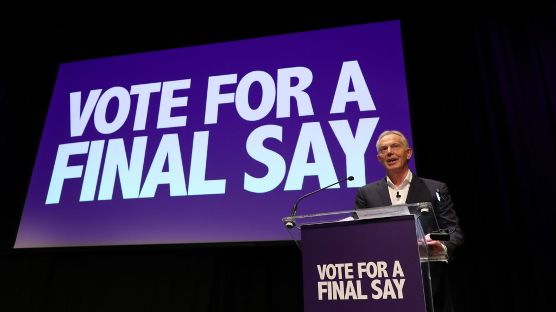 Former prime minister Tony Blair speaking during the Final Say rally at the Mermaid Theatre - Credit: PA