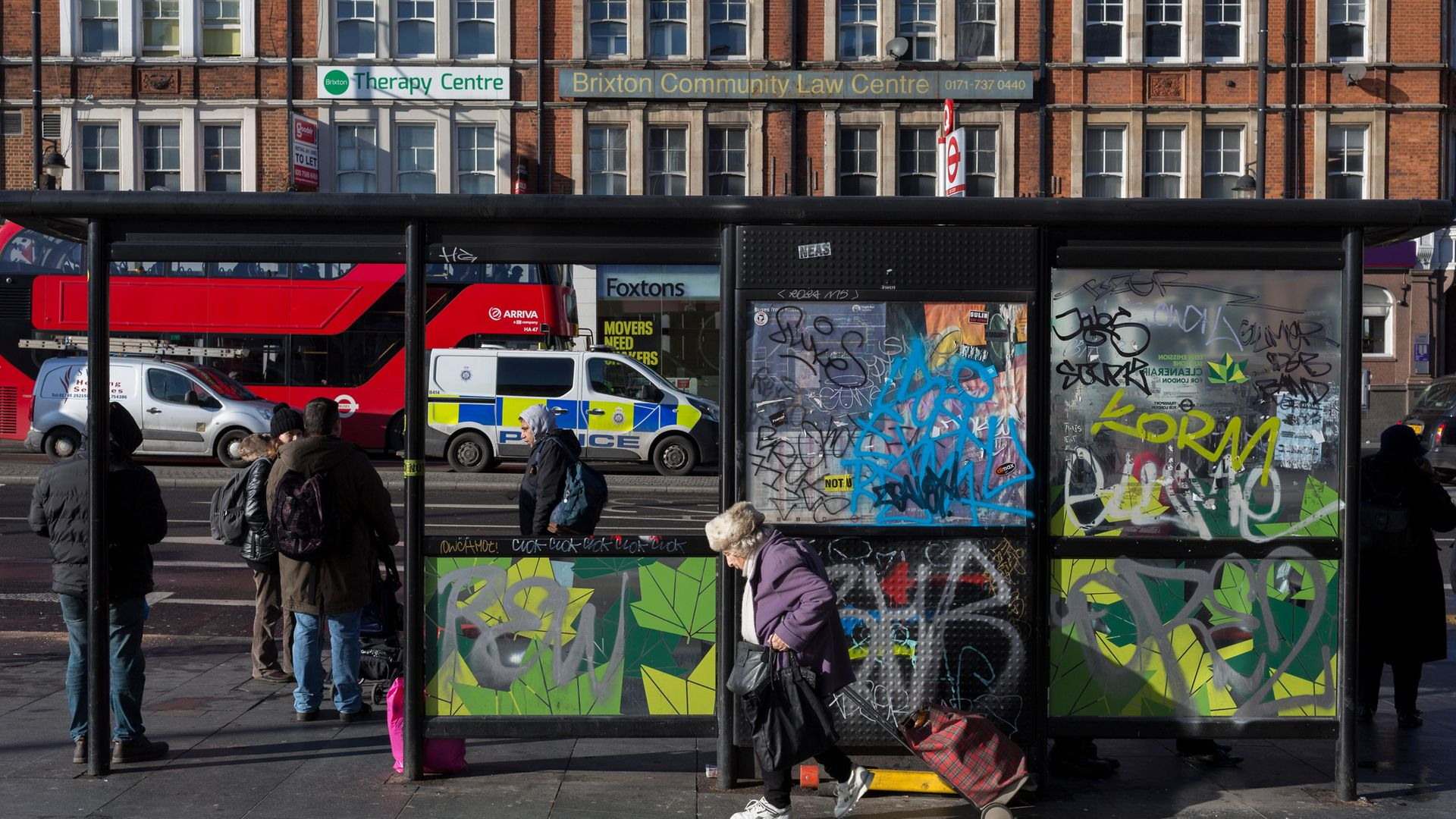 BUMPED OFF: A bus stop in Brixton near the spot where Will Self was knocked off his bike - Credit: In Pictures via Getty Images