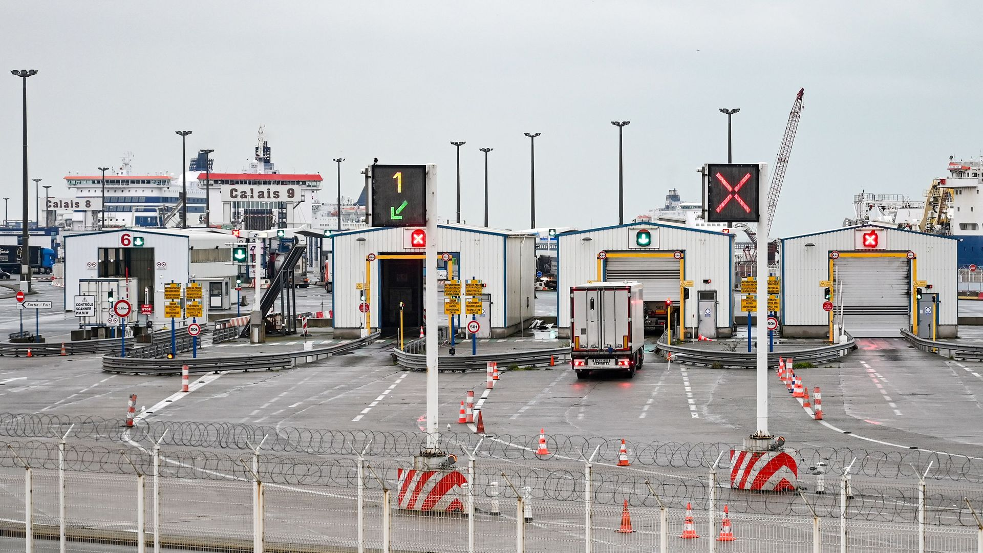 The checkpoint at the port of Calais - Credit: AFP via Getty Images