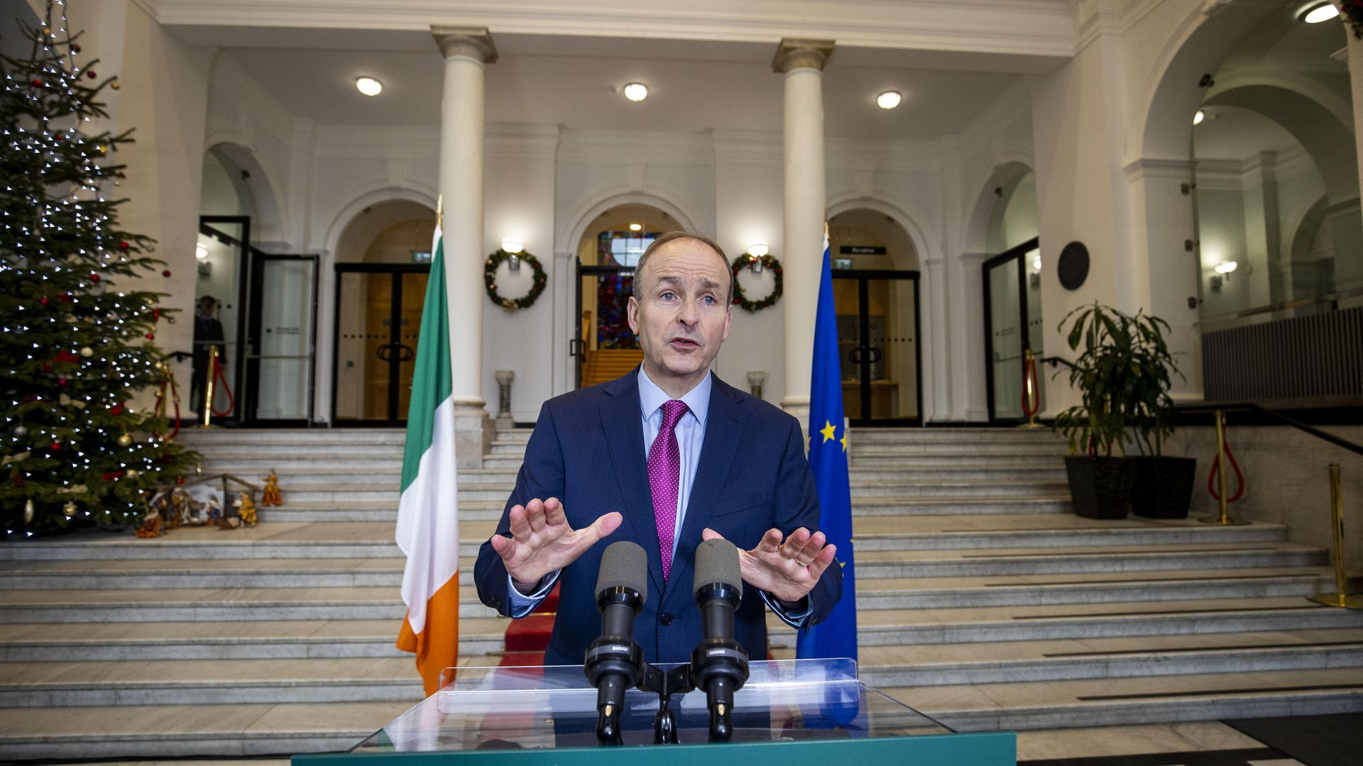 Taoiseach Michael Martin delivering an address to the nation on the latest update to lockdown restrictions at the government buildings, Dublin - Credit: PA/Julien Behal Photography