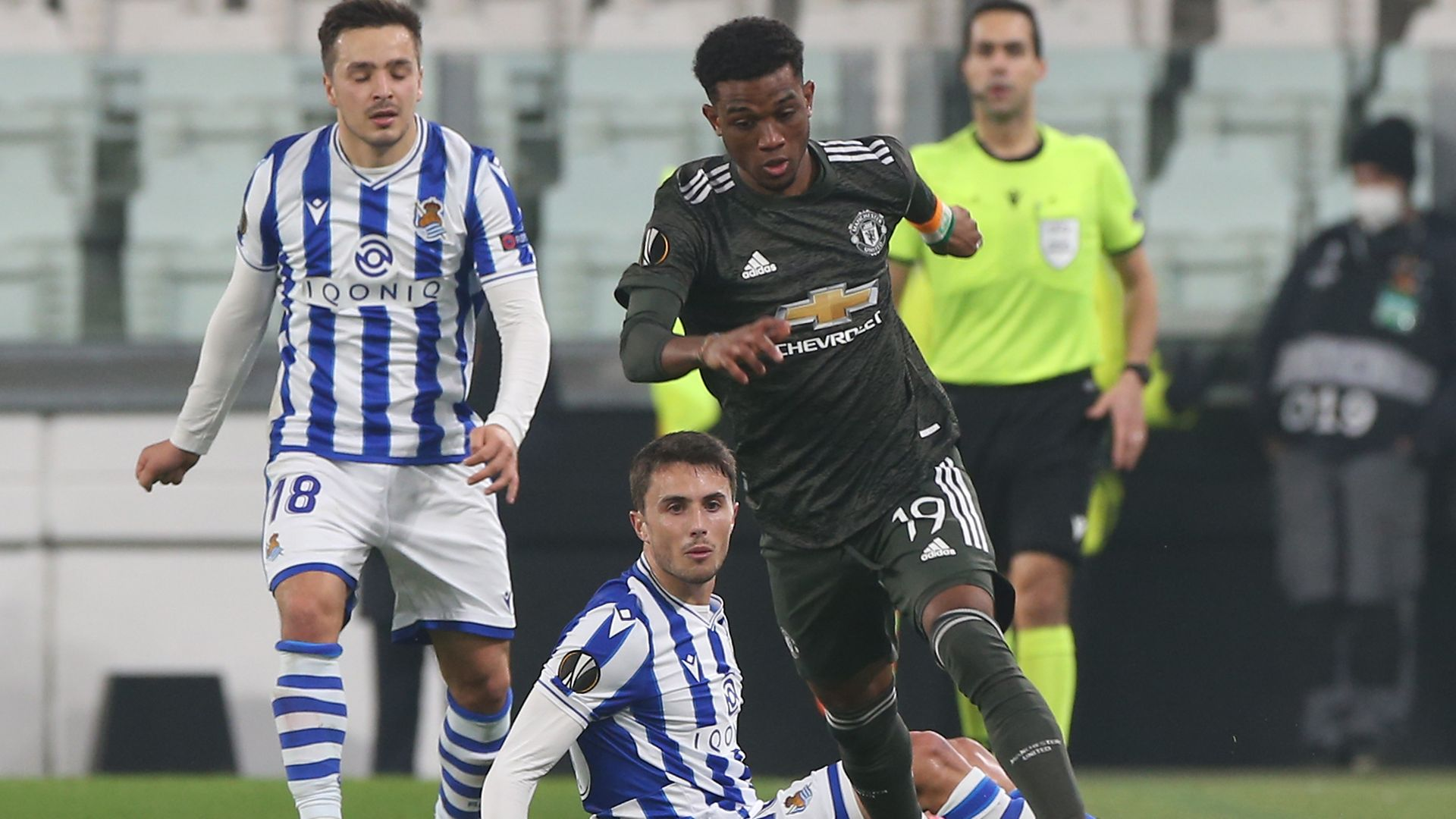 Amad Diallo, of Manchester United, evades two Real Sociedad players during the sides' recent Europa League clash. The English team won 4-0 - Credit: Manchester United via Getty Imag