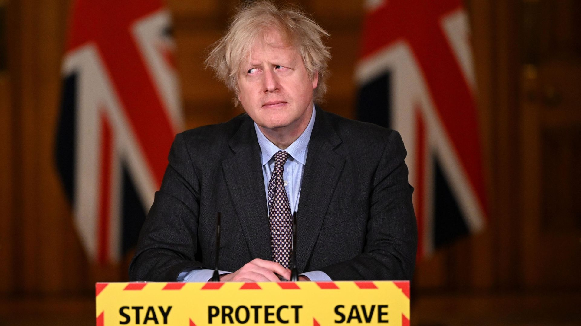 Prime Minister Boris Johnson at a Number 10 press conference - Credit: POOL/AFP via Getty Images