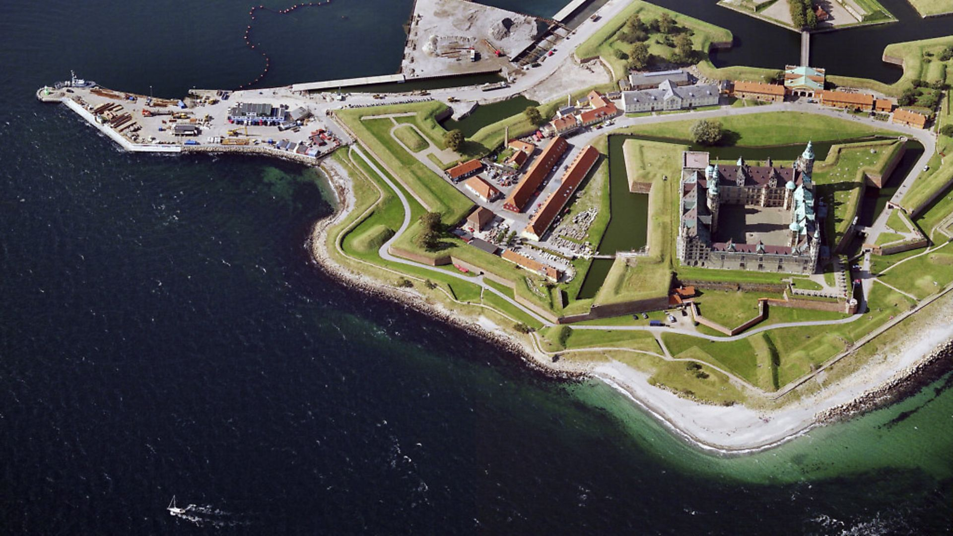 An aerial image of Kronborg Castle, Helsing�r (Photo by Blom UK via Getty Images) - Credit: Getty Images