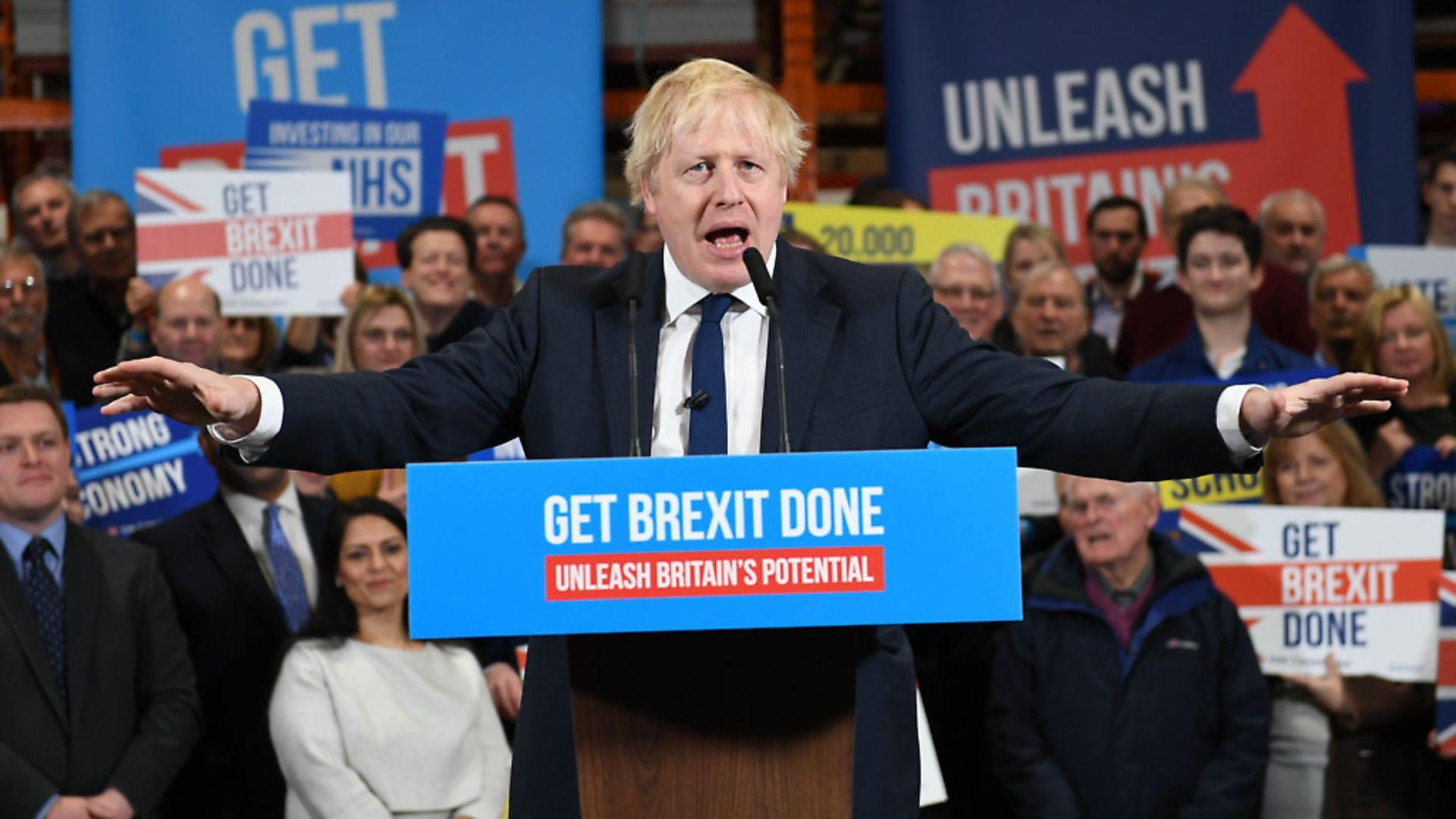 Boris Johnson on the general election trail. Photograph: Stefan Rousseau/PA. - Credit: PA Wire/PA Images