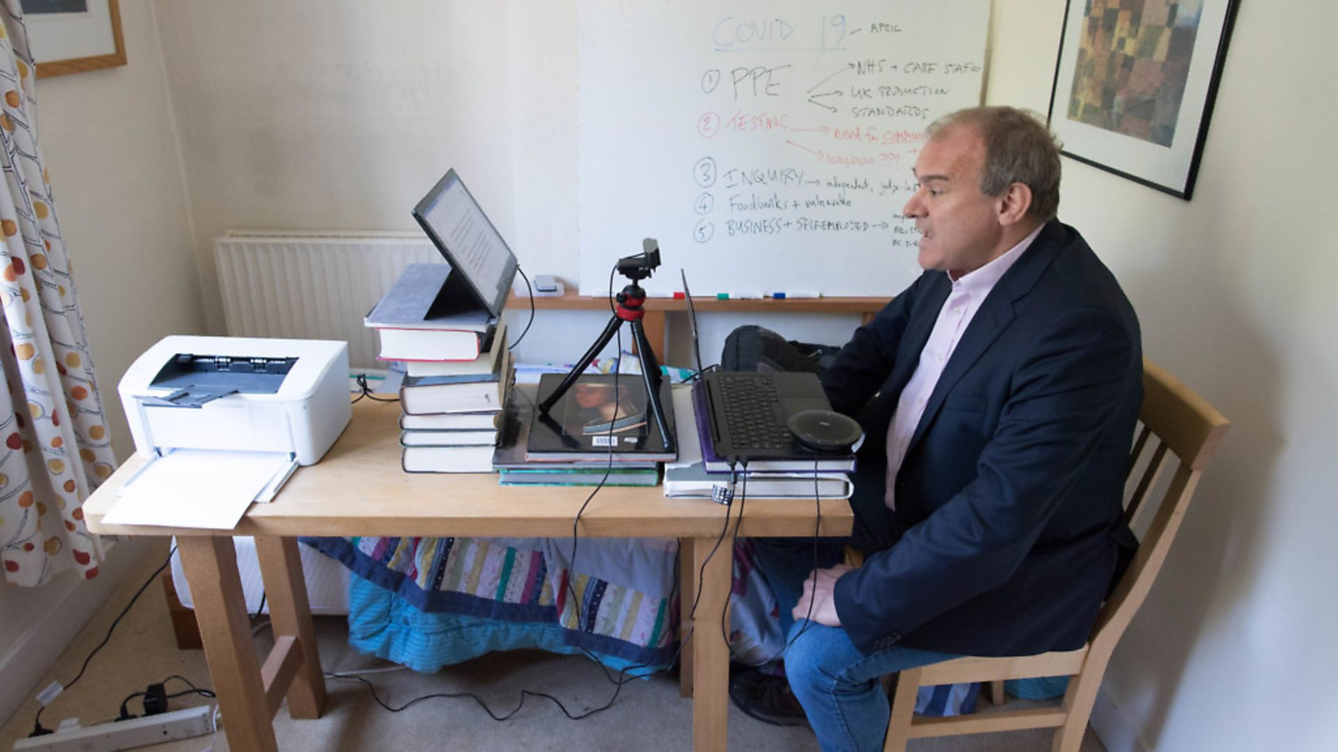 Liberal Democrat acting leader Sir Ed Davey takes part in the first virtual Prime Minister's Questions from his home in Surbiton, south London. Picture: PA - Credit: PA