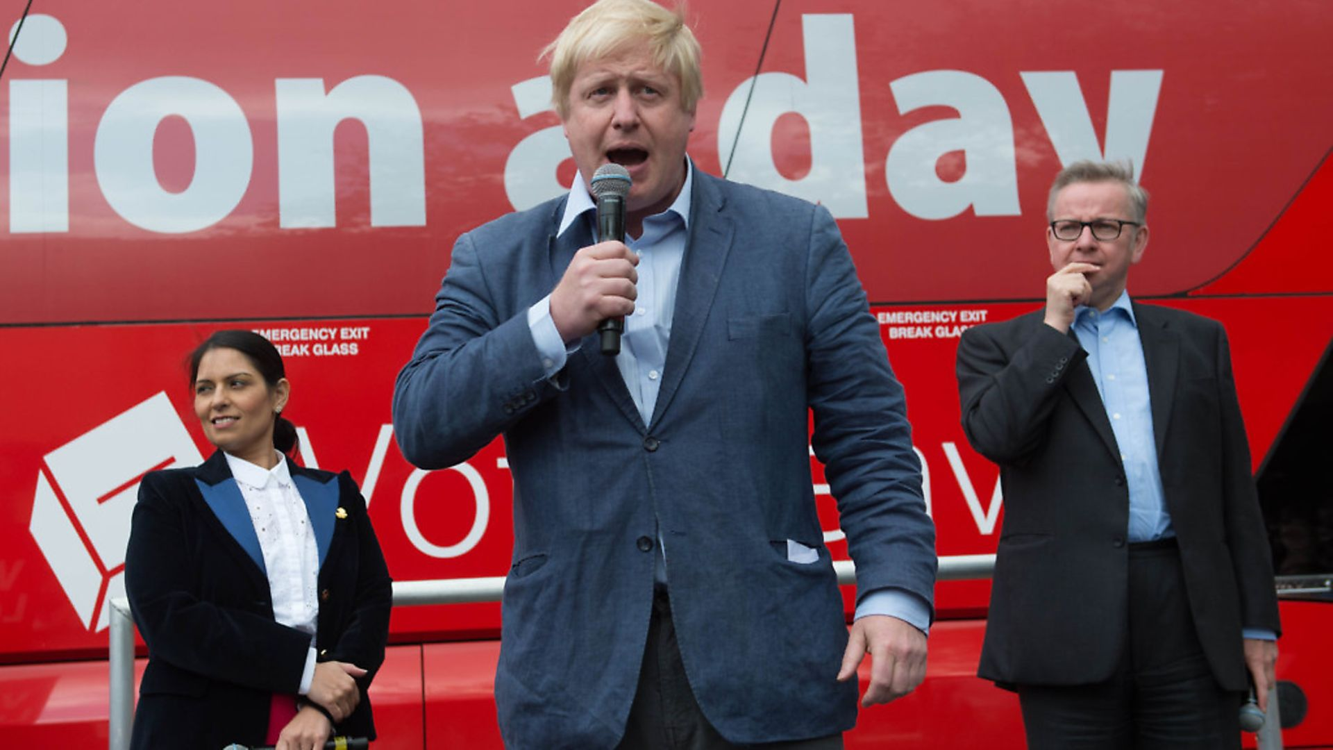 Boris Johnson speaks at a Vote Leave rally with Priti Patel and Michael Gove (right) in Preston town centre, Lancashire, as part of pro-Brexit campaigning. Photograph: Stefan Rousseau/PA. - Credit: PA