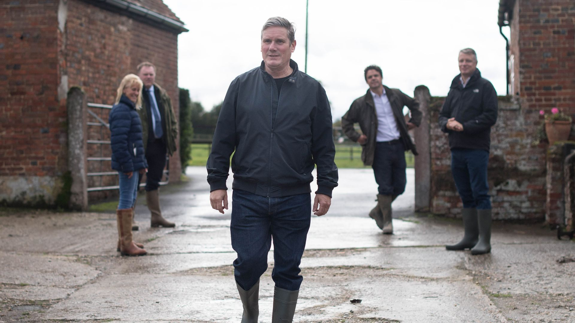 Labour leader Sir Keir Starmer during a visit to National Farmers' Union president Minette Batters' farm in Wiltshire - Credit: PA