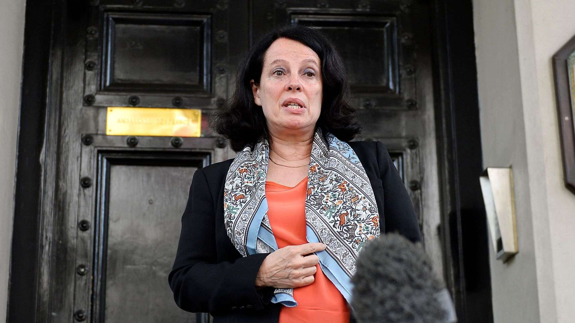 Sylvie Bermann, France's former ambassador to the UK, speaks to the media outside the French Embassy in London - Credit: PA