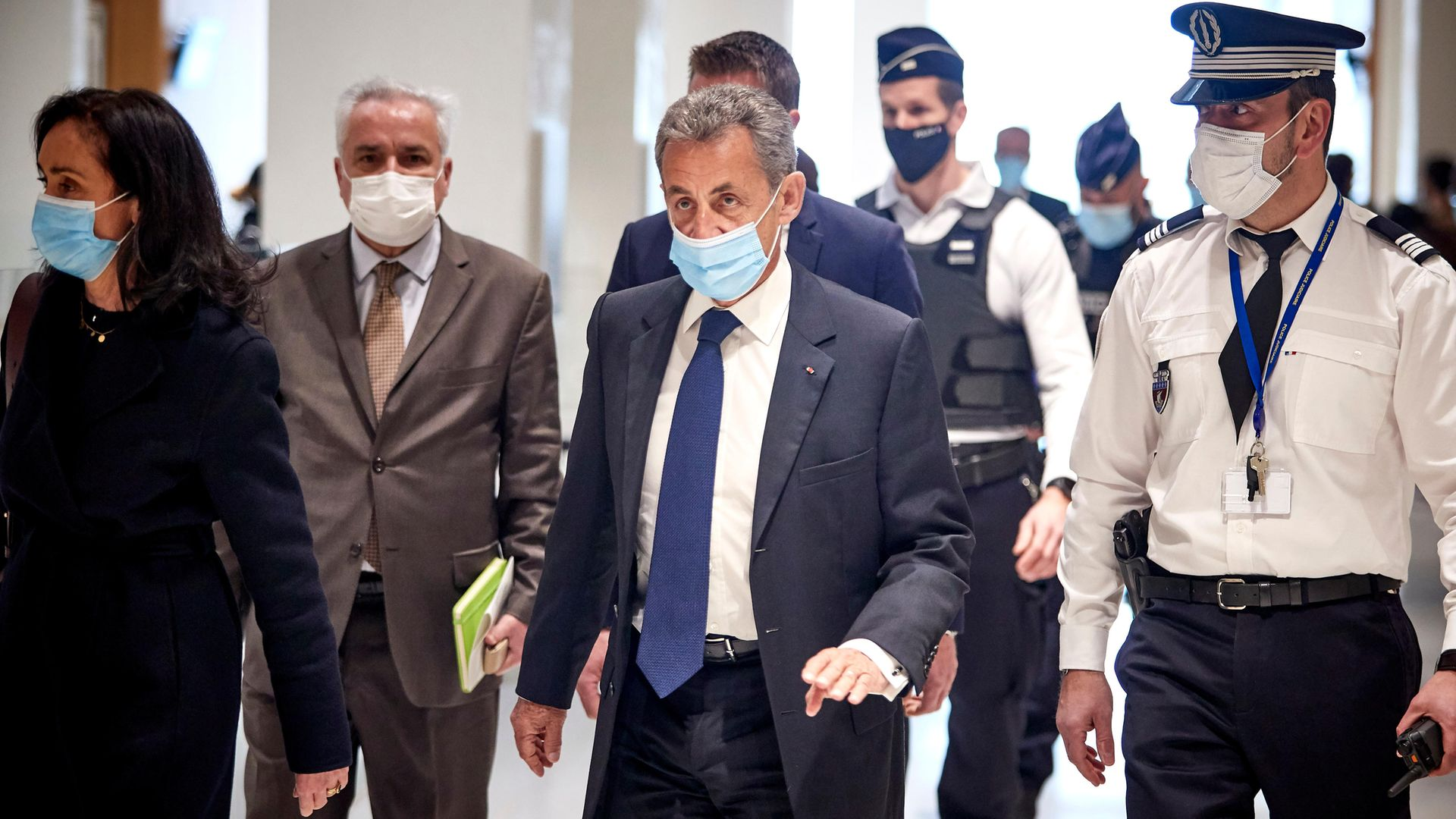 Former French President Nicolas Sarkozy arrives at court for the verdict of his trial for corruption and influence-peddling - Credit: Getty Images