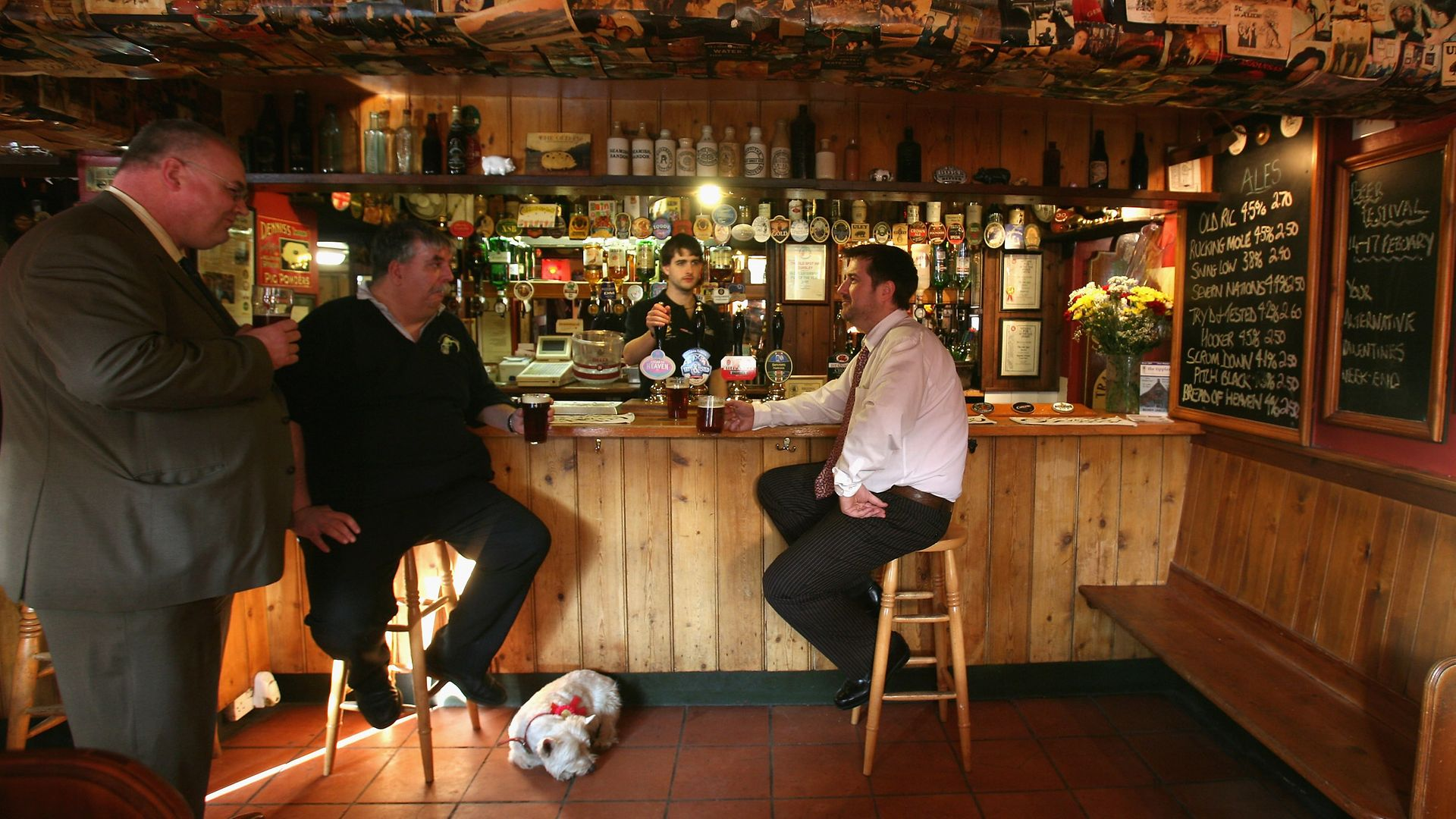 Long before lockdown was on the horizon, locals have a beer in The Old Spot Inn, in Dursley, a previous winner of CAMRA's Pub of the Year award - Credit: Getty Images
